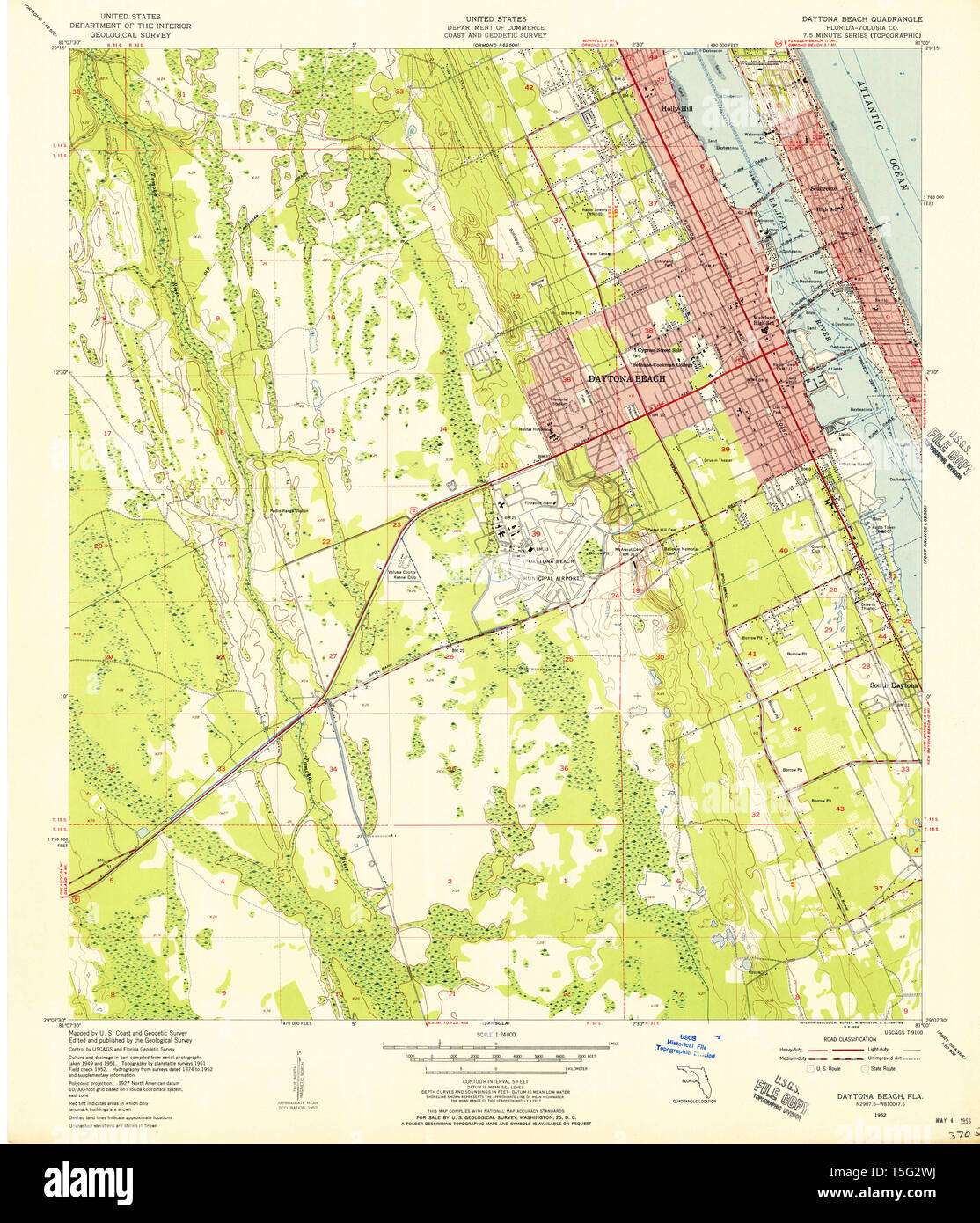 USGS TOPO Map Florida FL Daytona Beach 345749 1952 24000 Restoration Daytona Florida Map on