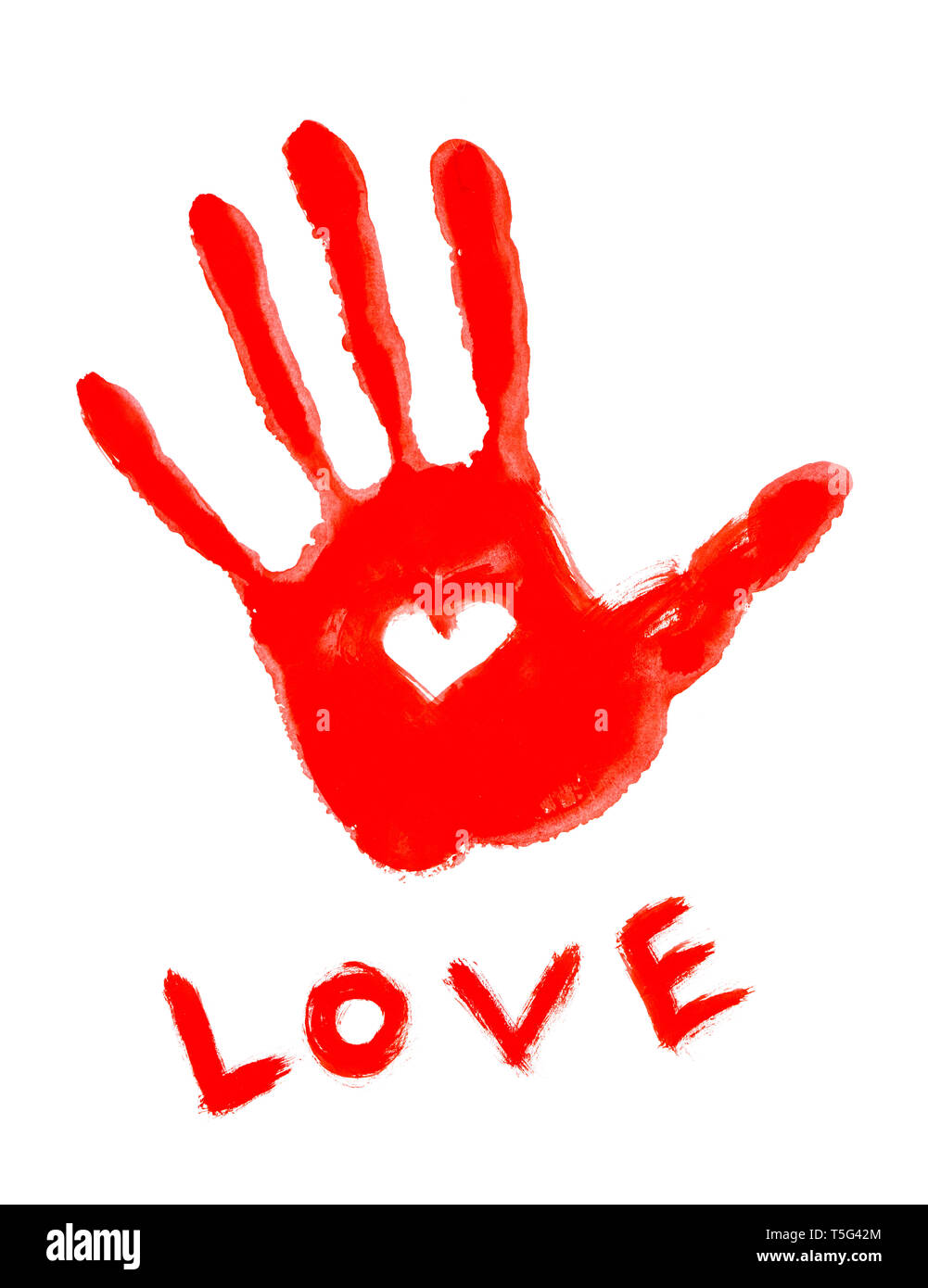 Drawing Handprint With Love Symbol And Love Word Stock