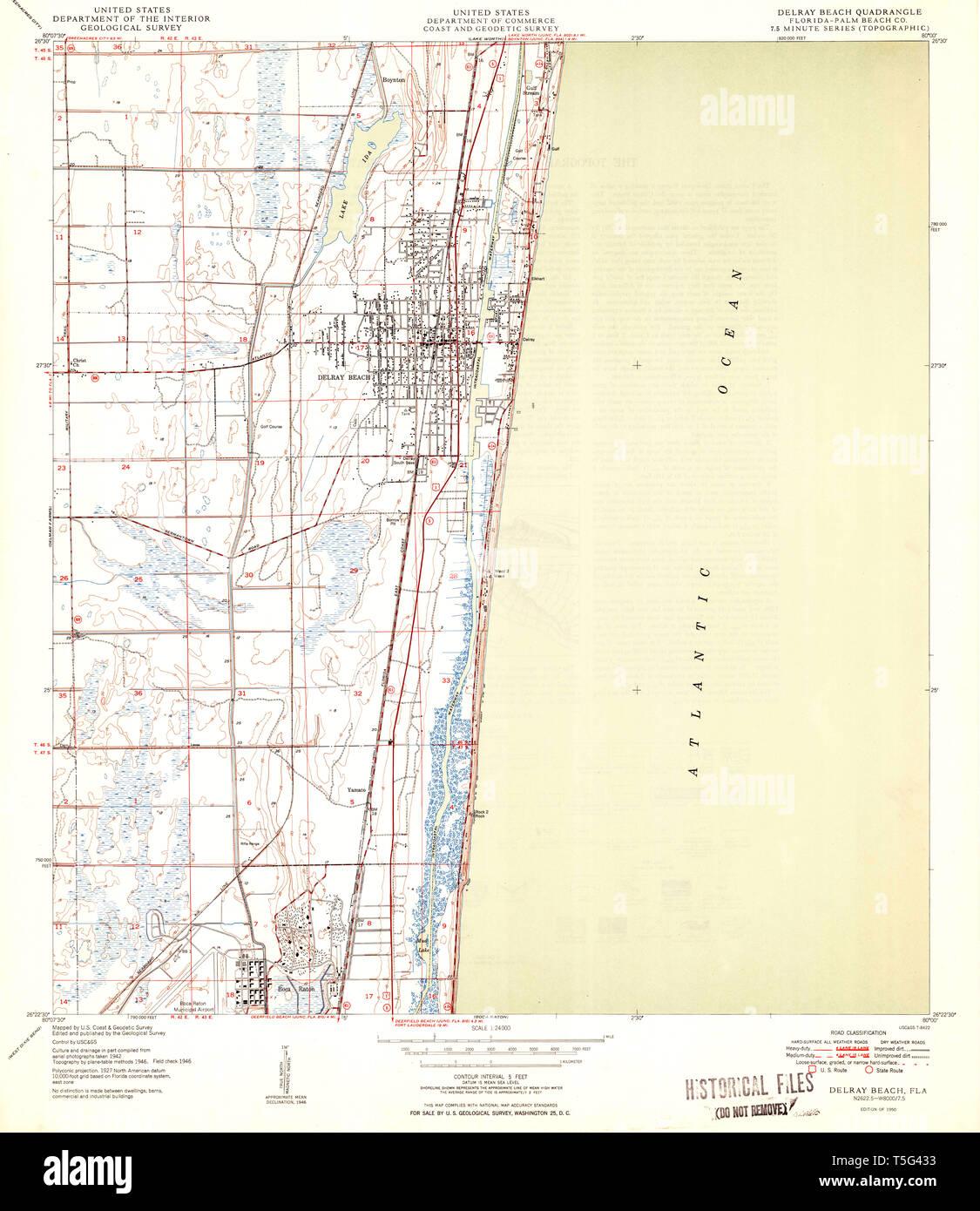Map Of Florida Delray Beach.Usgs Topo Map Florida Fl Delray Beach 345825 1950 24000 Restoration