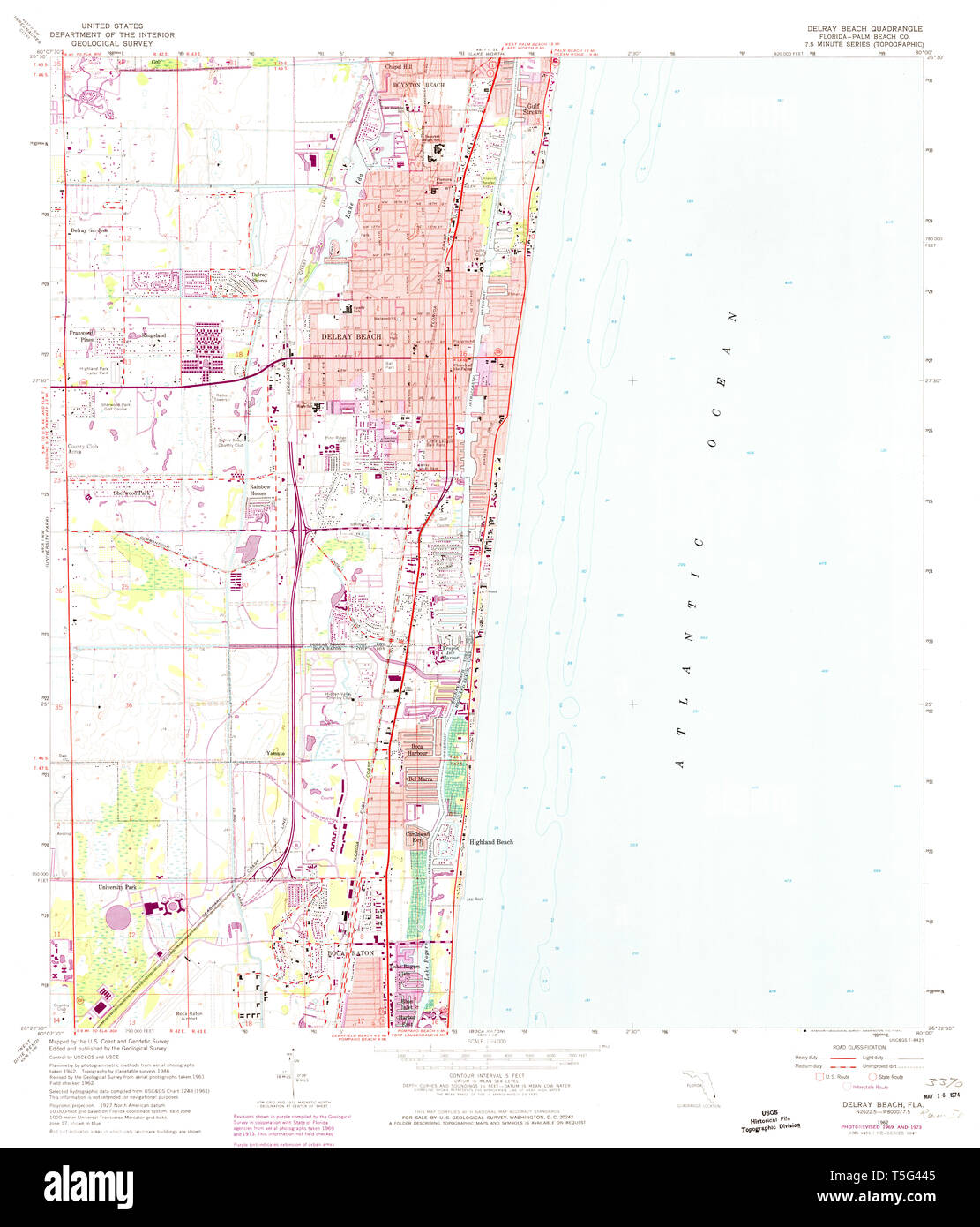 USGS TOPO Map Florida FL Delray Beach 345829 1962 24000 Restoration Delray Beach Fl Map on