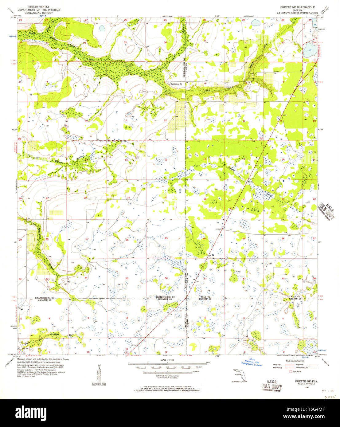 USGS TOPO Map Florida FL Duette NE 345887 1956 24000 Restoration ...