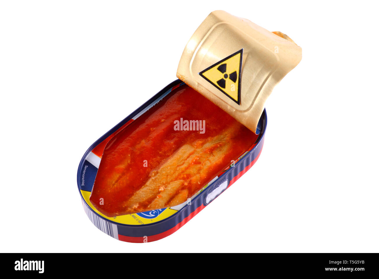 Radioactively contaminated fish - isolated on a white background. - Stock Image