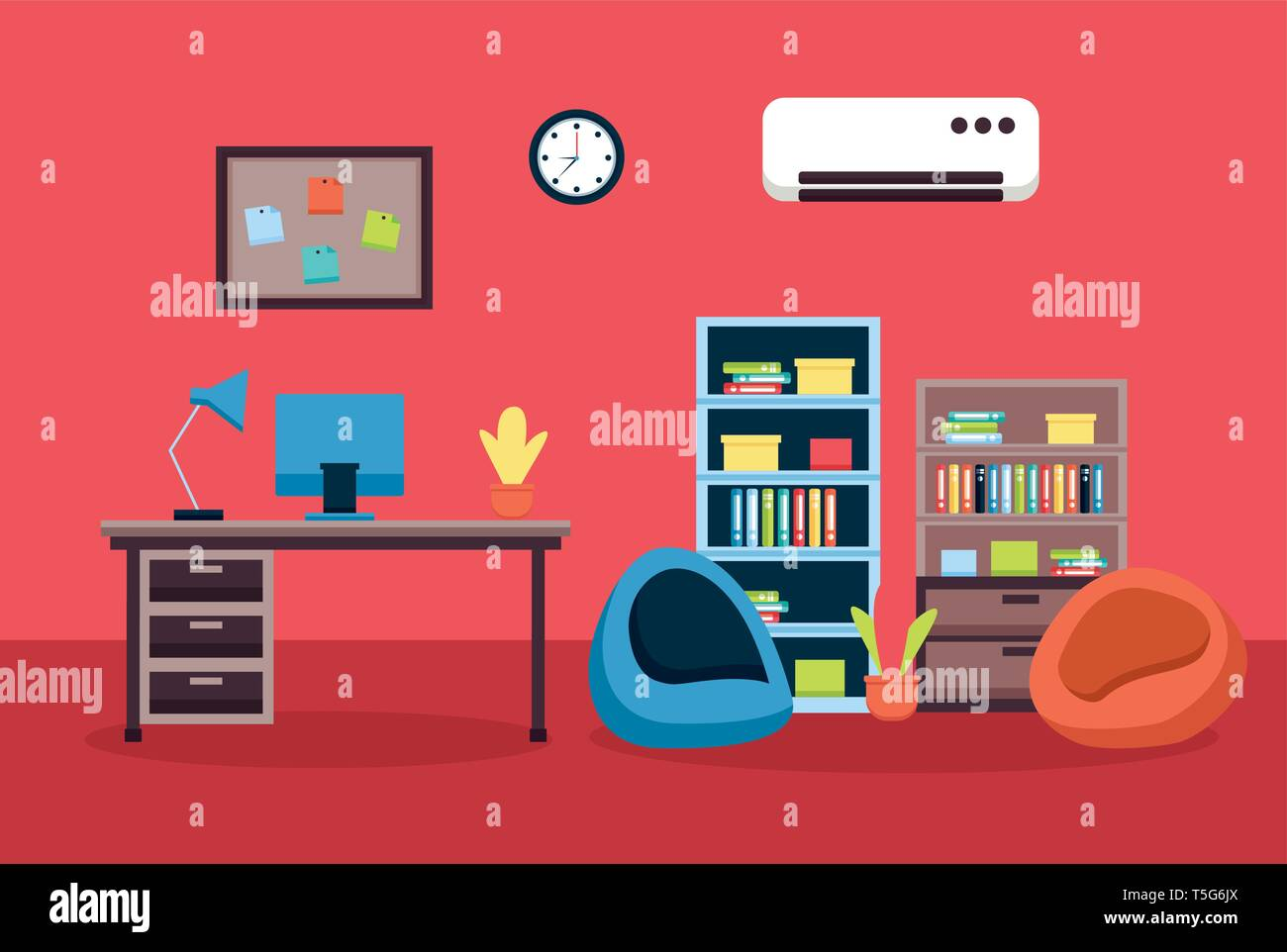 office interior workplace - Stock Vector