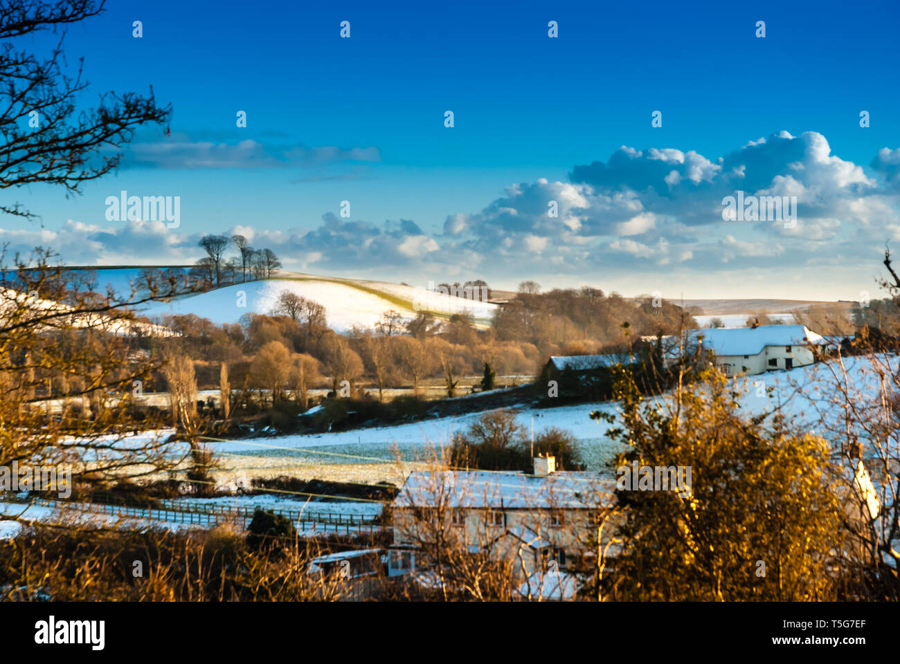 At the going down of the sun the village of East Budleigh is glorious in winter. - Stock Image