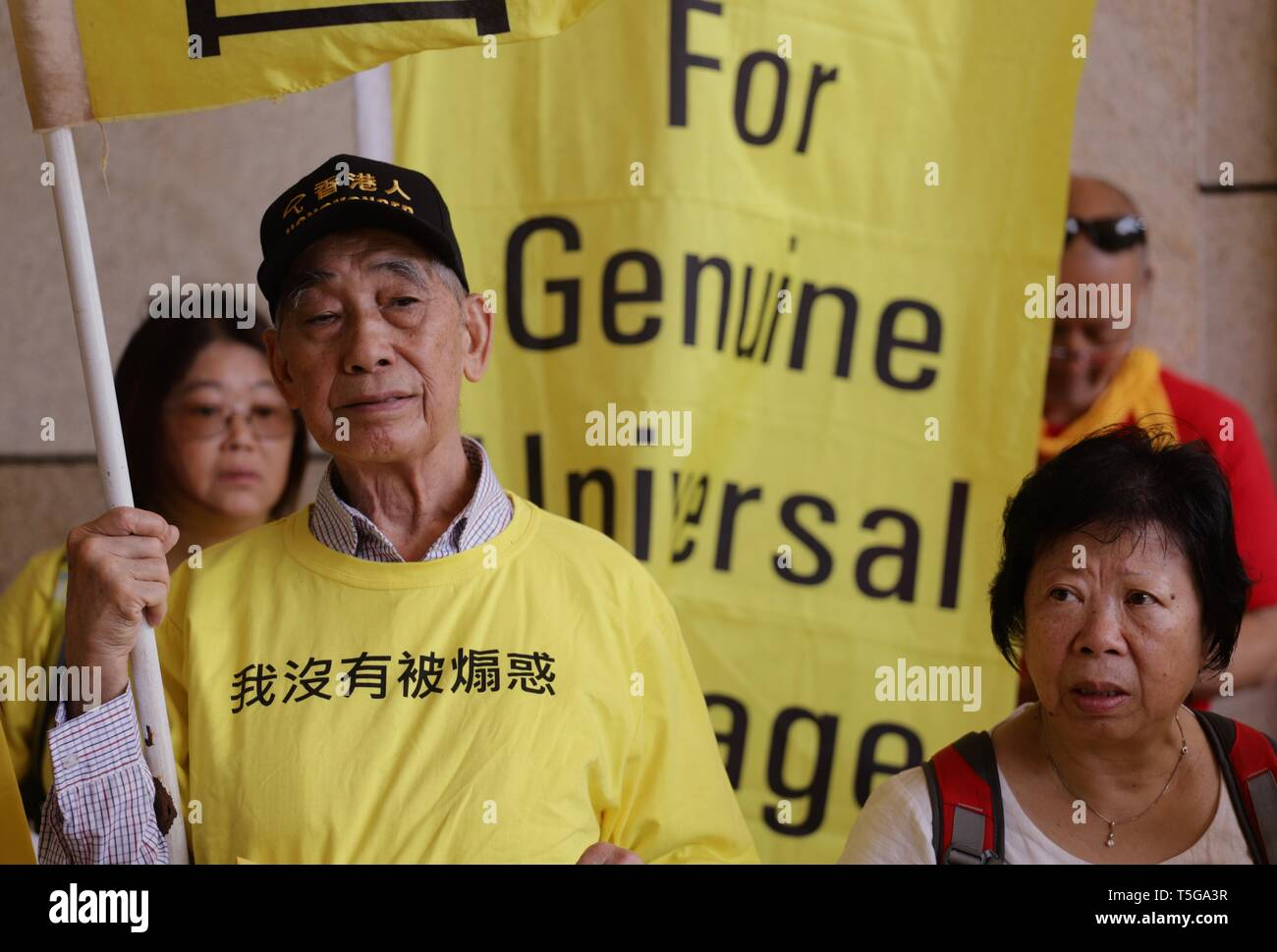 Hong Kong. 24th Apr, 2019. Supporters of the UMBRELLA MOVEMENT gather outside West Kowloon Court this morning to show their support for the 9 defendants ( leaders of the 2014 Umbrella Movement ) this morning.April-24, 2019 Hong Kong.ZUMA/Liau Chung-ren Credit: Liau Chung-ren/ZUMA Wire/Alamy Live News - Stock Image