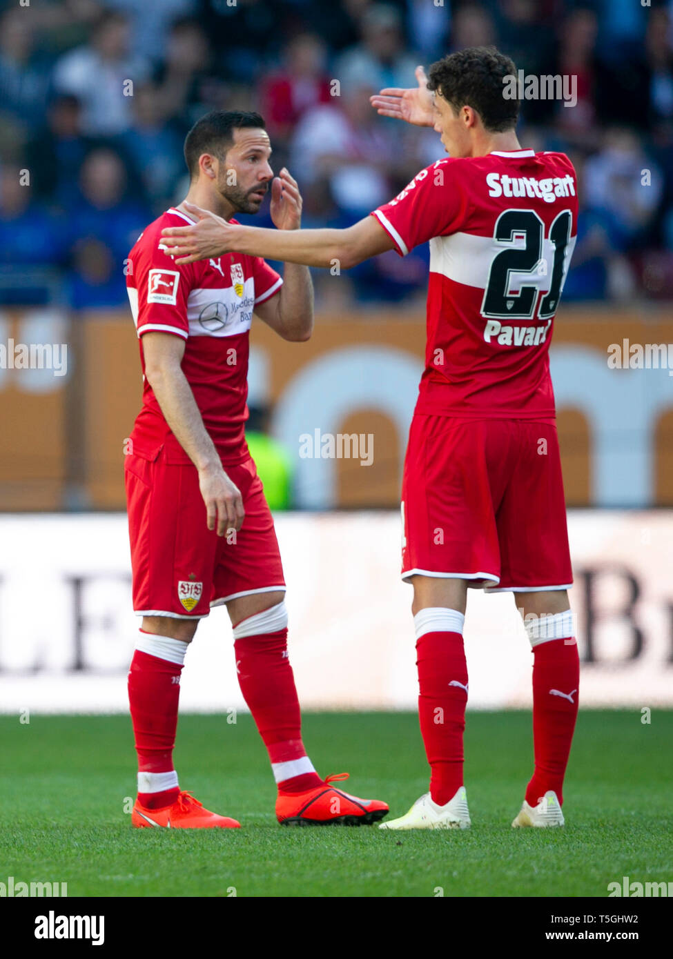 Bewilderment, A¶ Gonzalo CASTRO (# 8, S) and Benjamin PAVARD (# 21, S). Soccer, FC Augsburg (A) - VfB Stuttgart (S) 6: 0, Bundesliga, 30.matchday, season 2018/2019, on 20/04/2019 in Augsburg/WWKARENA/Germany. Editorial Note: DFL regulations prohibit any use of photographs as image sequences and/or quasi-video. ¬ | usage worldwide - Stock Image