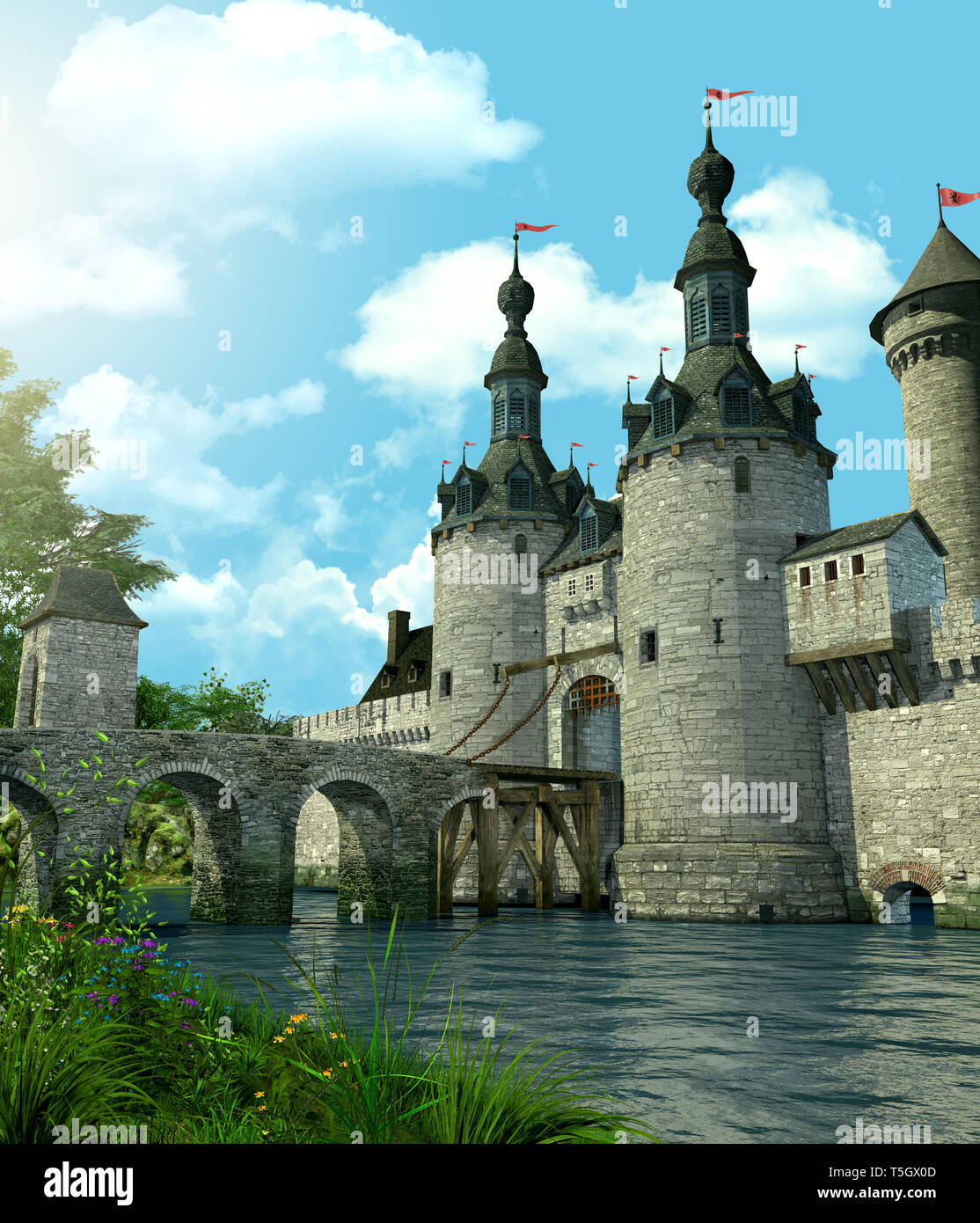 3D rendering of a romantic fairytale castle in an idyllic landscape framed by trees and protected by a moat filled with water - Stock Image