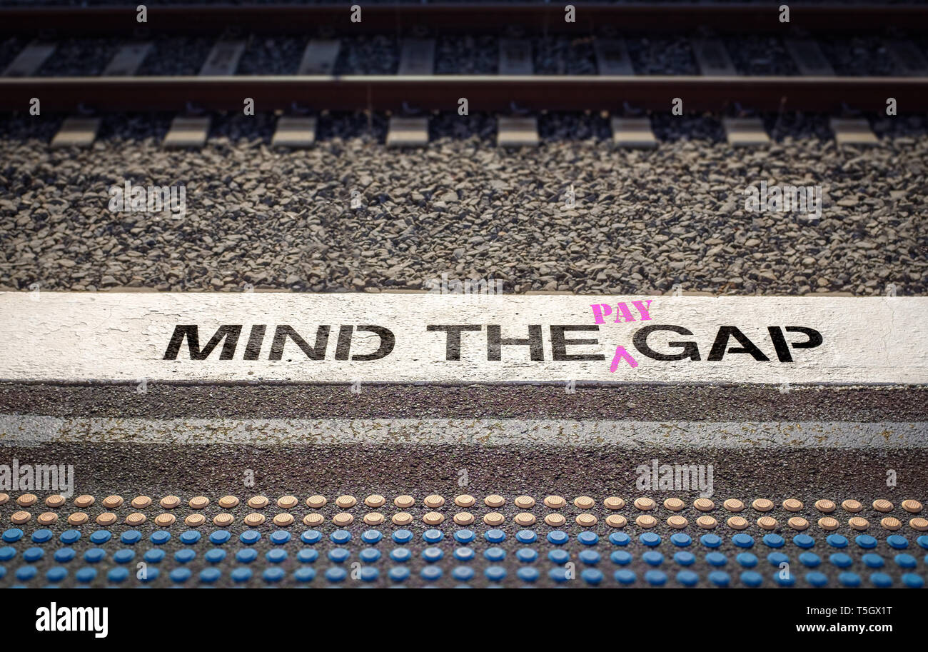 Gender pay gap, Mind the pay gap graffiti in pink, Gender pay equality concept – Image - Stock Image