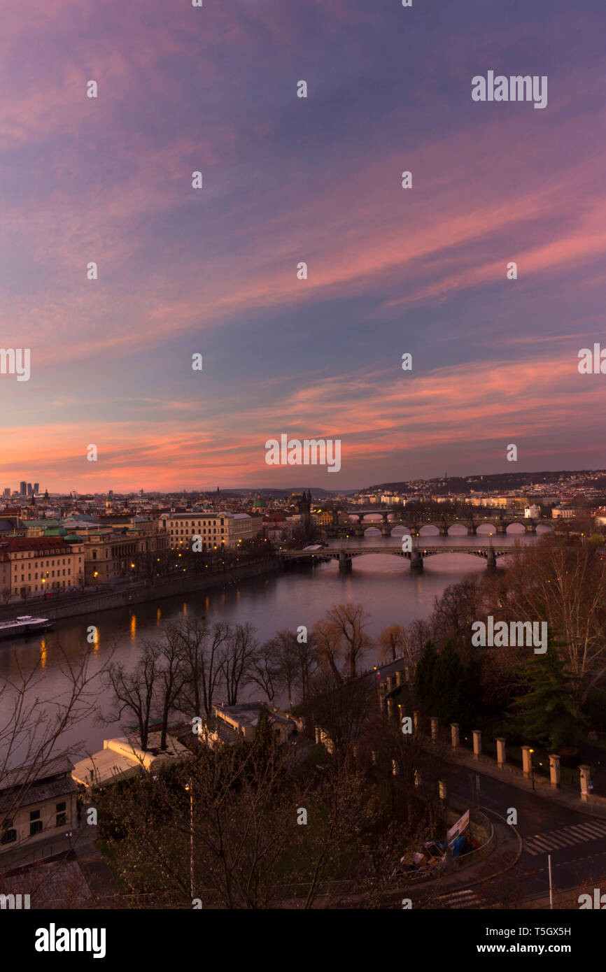 Sunrise View over Prague, from Letna Park Stock Photo