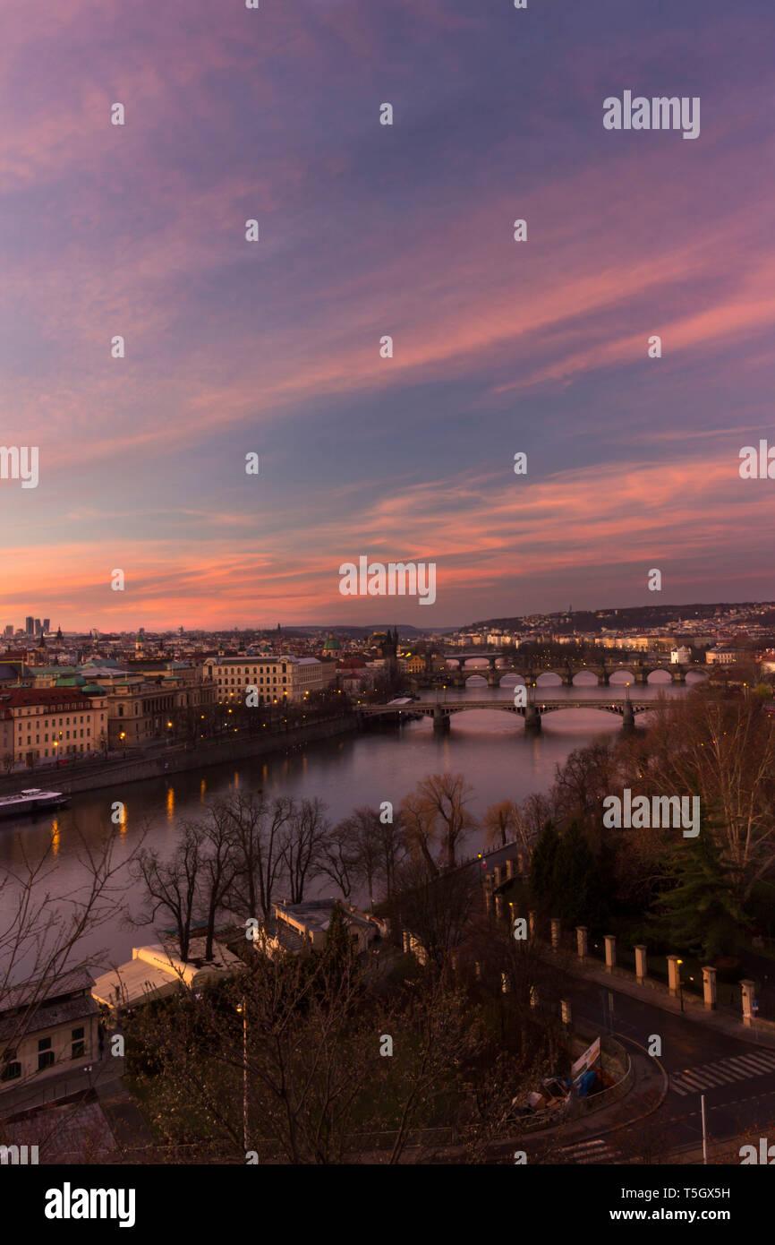 Sunrise View over Prague, from Letna Park - Stock Image