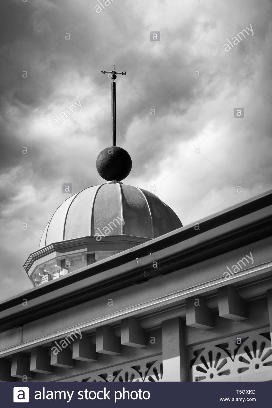 Black and white architecture detail of weathervane on the roof of a historic building in Whangarei New Zealand - Stock Image