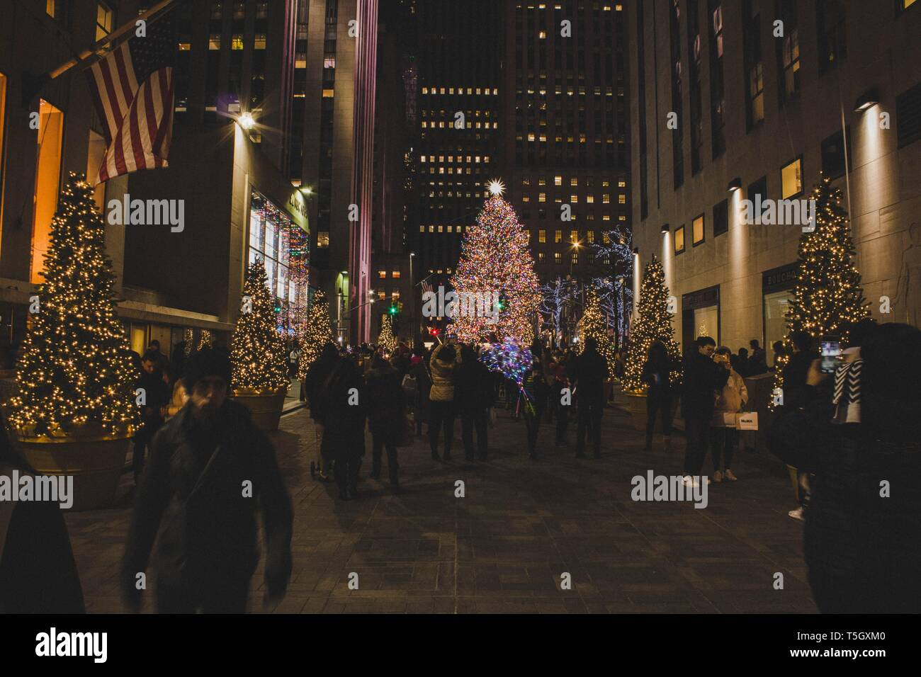 Nyc During Christmas.Beautiful Christmas Decorations In New York During Winter