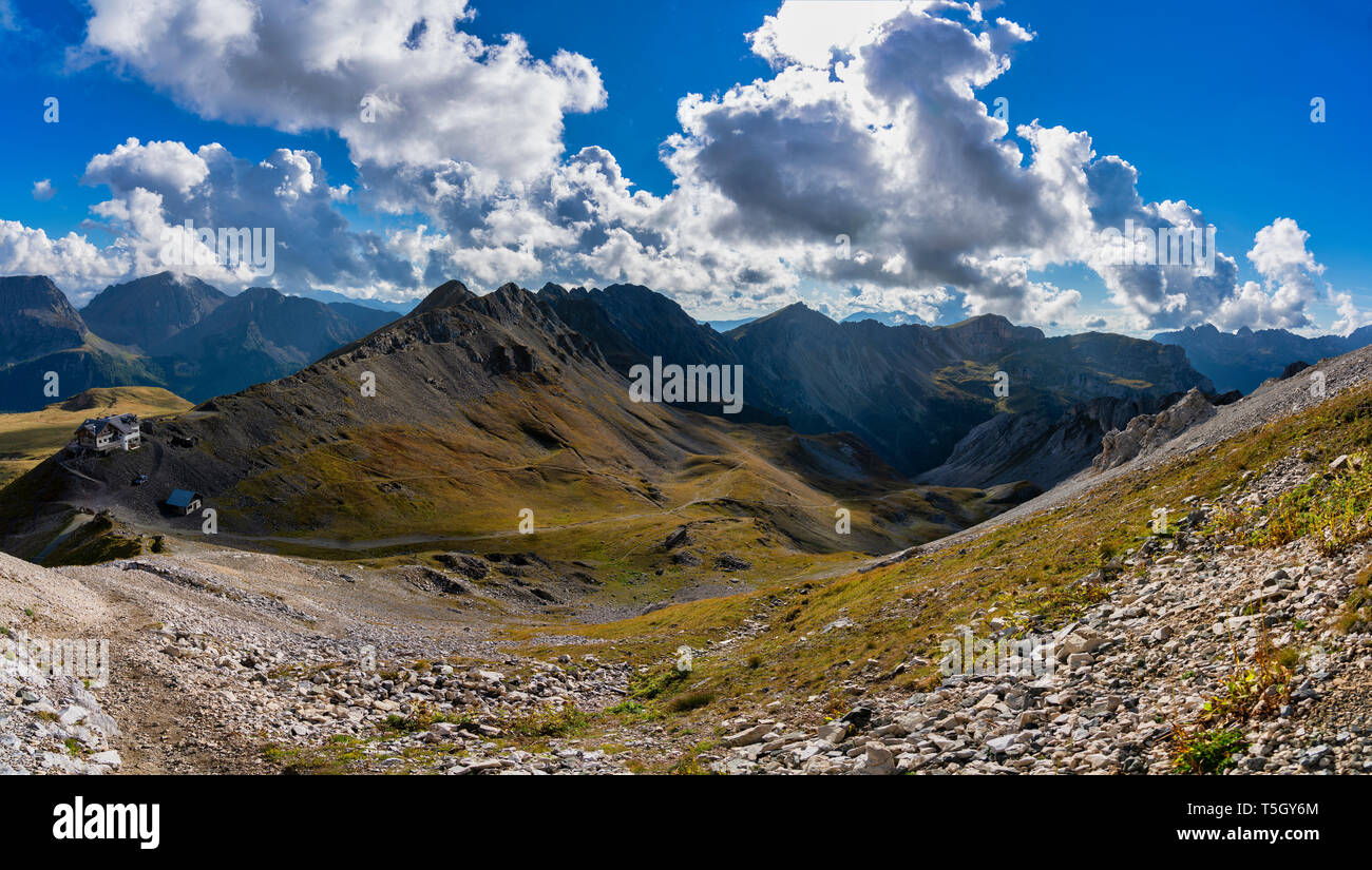 Italy, Veneto, Dolomites, San Pellegrino Pass, Paradiso mountain hut Stock Photo