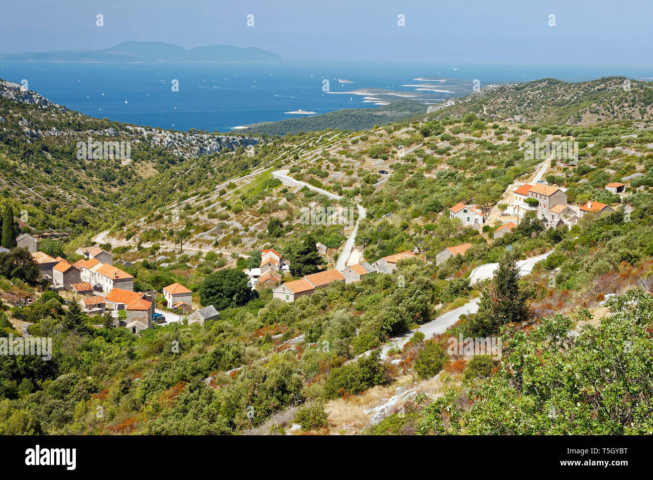 rural overviews; village; farms; hills, landscape, old buildings, roads, Adriatic Sea; distant land; Hvar; Croatia; Europe; summer, horizontal - Stock Image