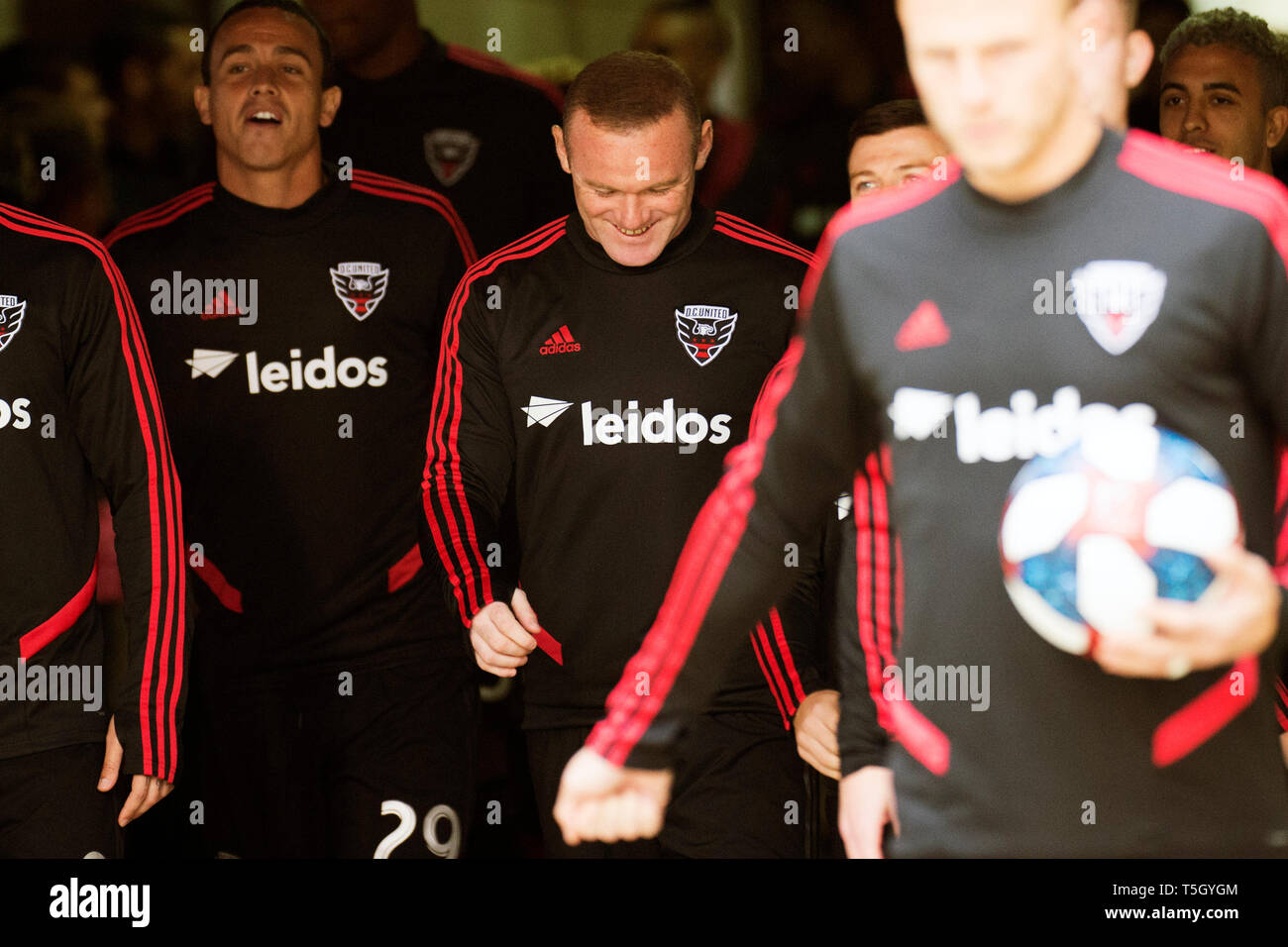 April 24, 2019: D.C. United forward Wayne Rooney (9) enters the pitch to take on Columbus Crew SC in their game in Columbus, Ohio, USA. Brent Clark - Stock Image