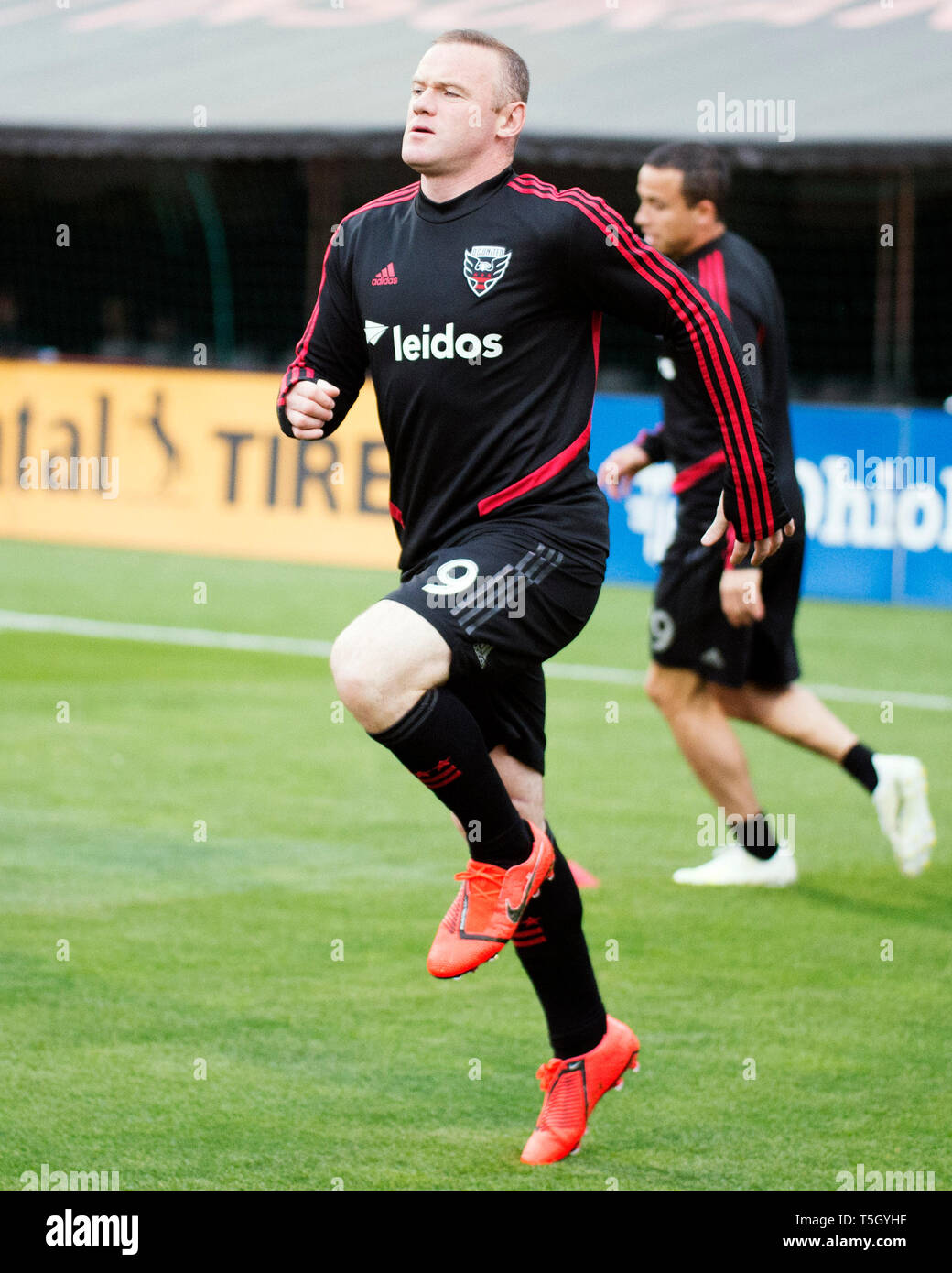 April 24, 2019: D.C. United forward Wayne Rooney (9) warms up before taking on Columbus Crew SC in their game in Columbus, OH, USA. Brent Clark/Alamy - Stock Image