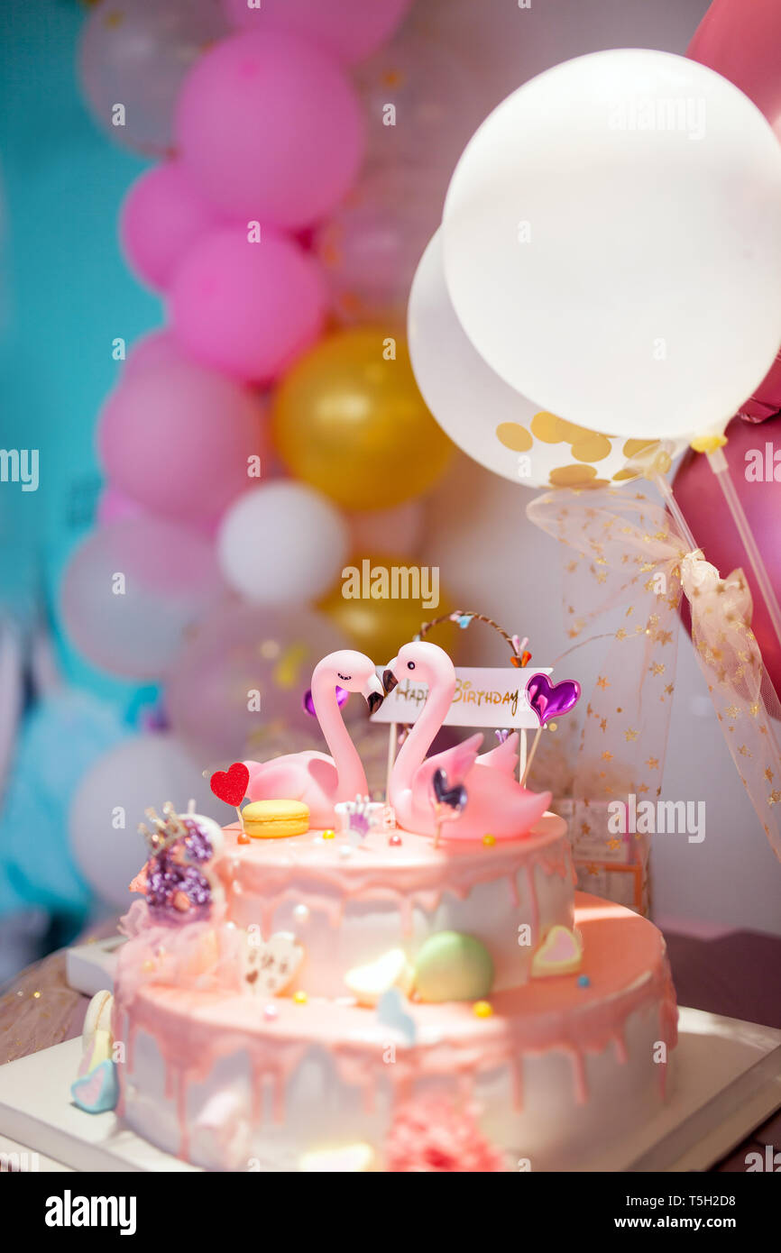 Super Flamingo Birthday Cake Arrangement Stock Photo 244393556 Alamy Personalised Birthday Cards Bromeletsinfo