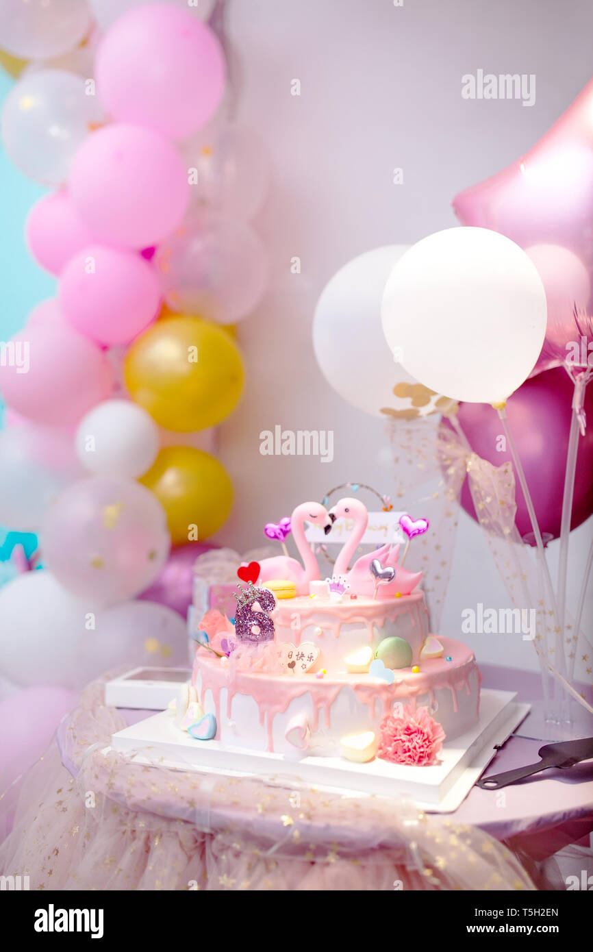 Tremendous Flamingo Birthday Cake Arrangement Stock Photo 244393597 Alamy Personalised Birthday Cards Veneteletsinfo