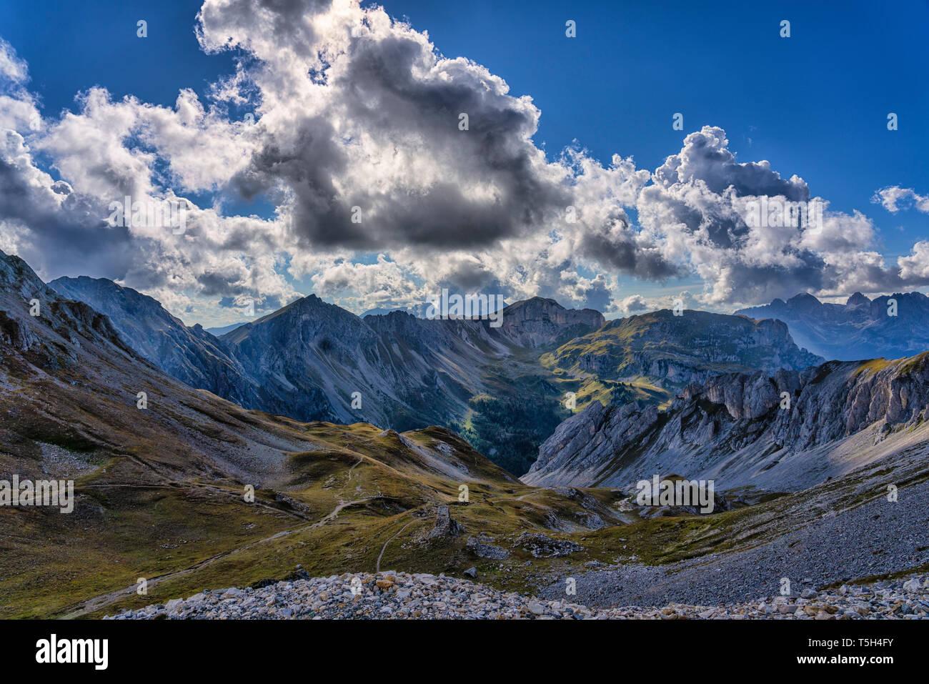 Italy, Veneto, Dolomites, San Pellegrino Pass, Alta Via Bepi Zac Stock Photo