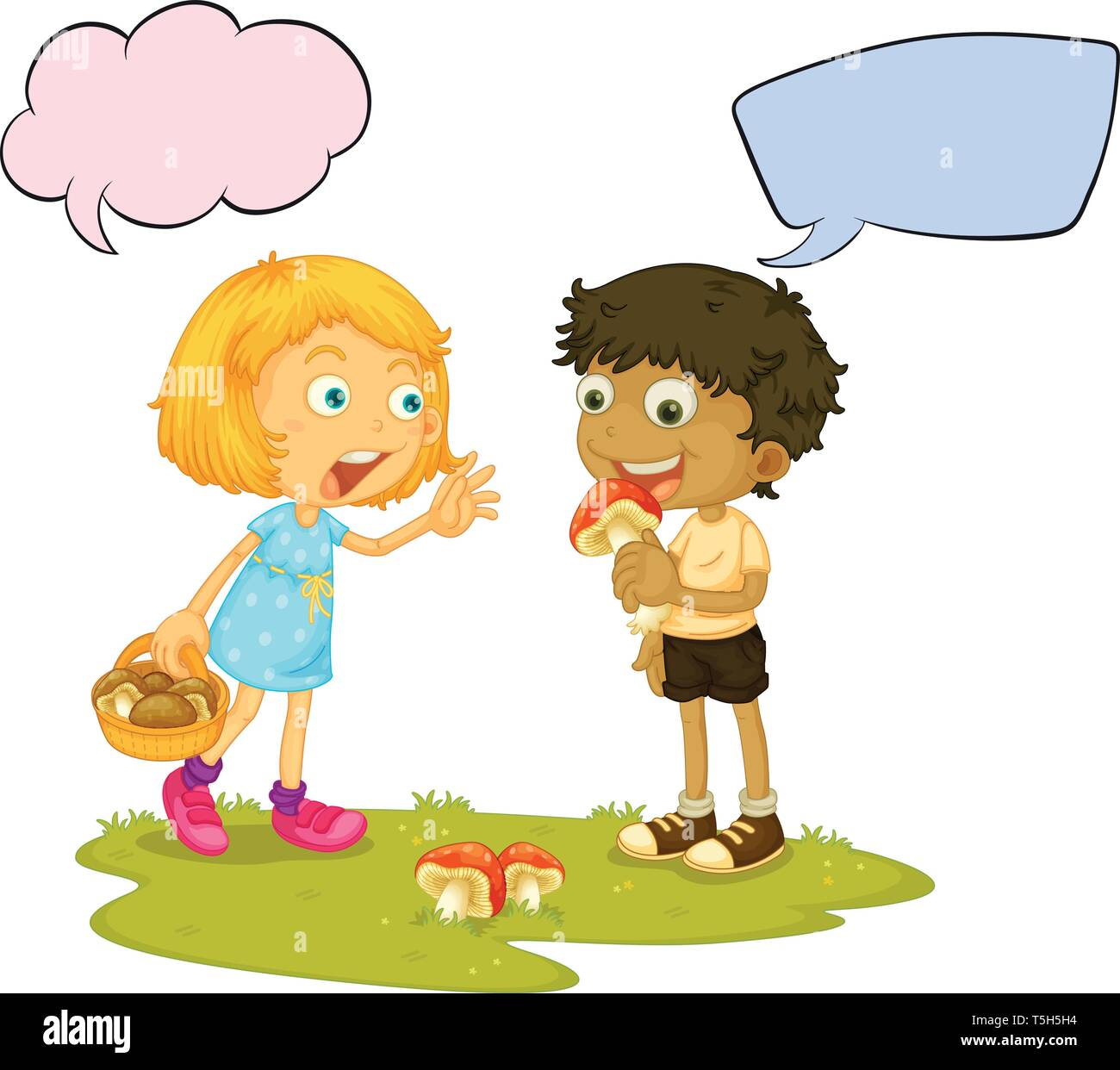 Boy eating mushroom speech balloon illustration - Stock Image