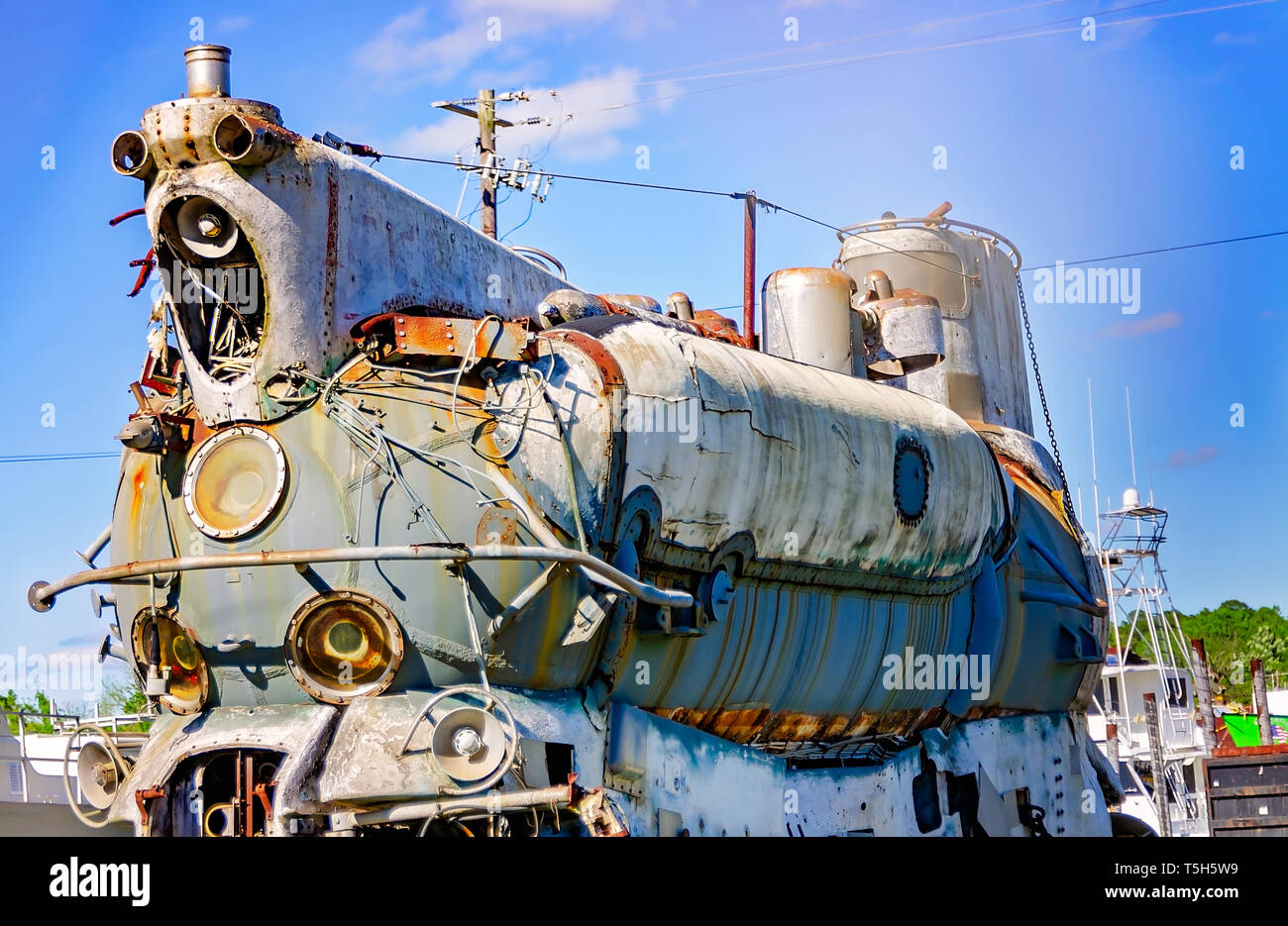 A Cold War-era Russian submarine rusts away in Steiner Shipyard, February 8, 2017, in Bayou La Batre, Alabama. - Stock Image