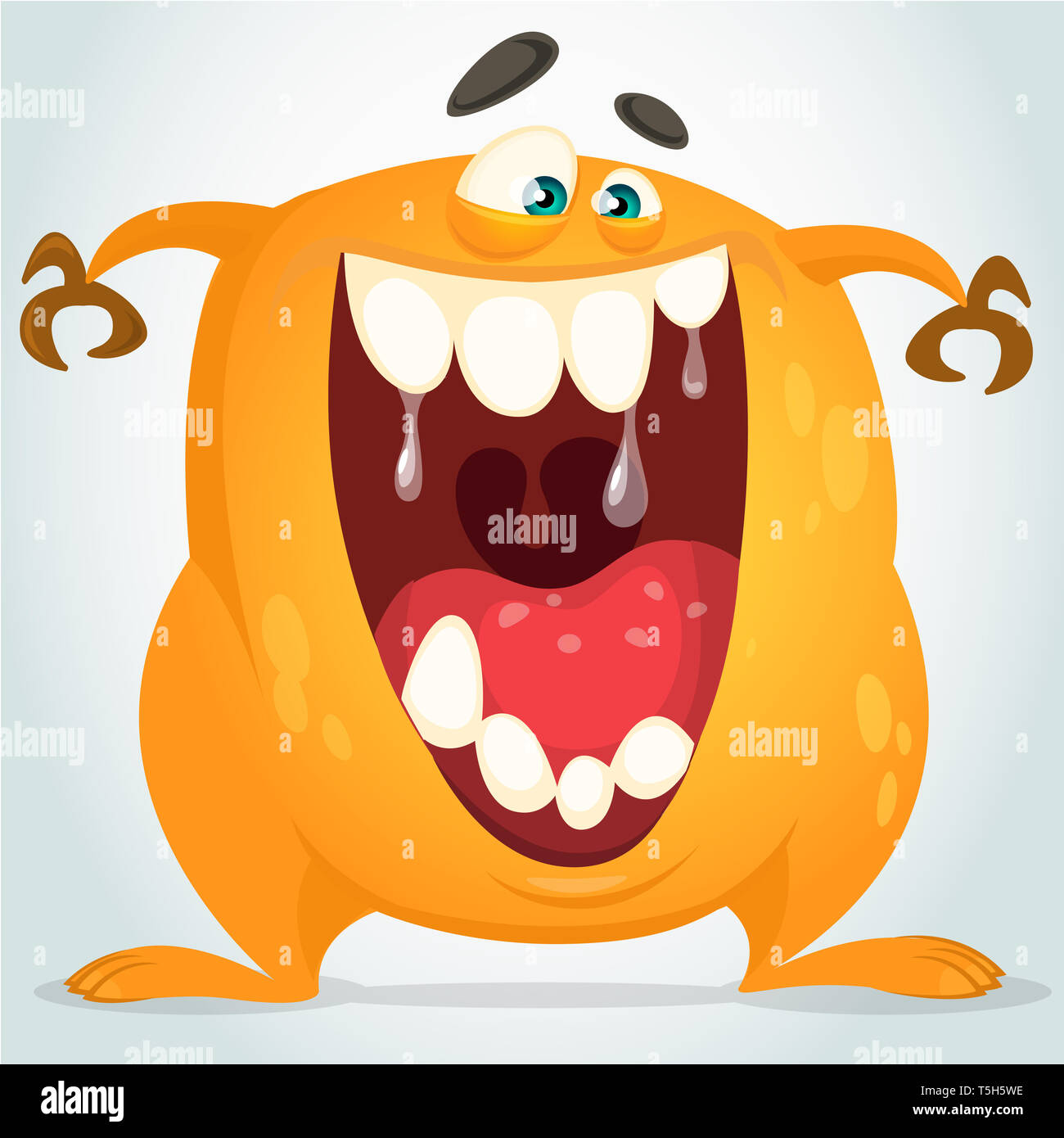 Cartoon funny orange monster with opened mouth full of teeth. Halloween vector illustration. Monster clipart for print, stickers or logo - Stock Image