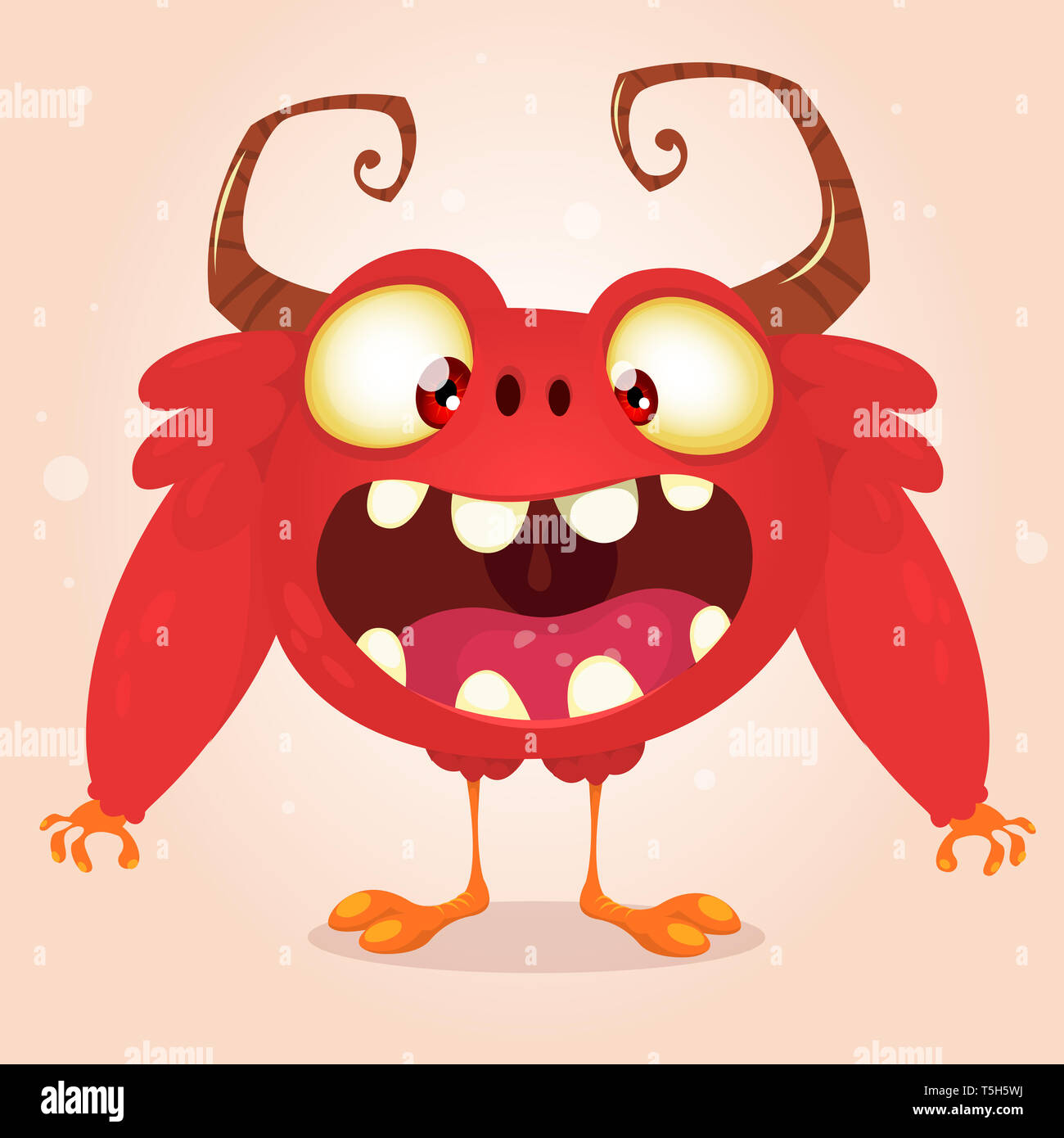 Happy cartoon screaming monster character design with big horns. Vector illustration for Halloween - Stock Image