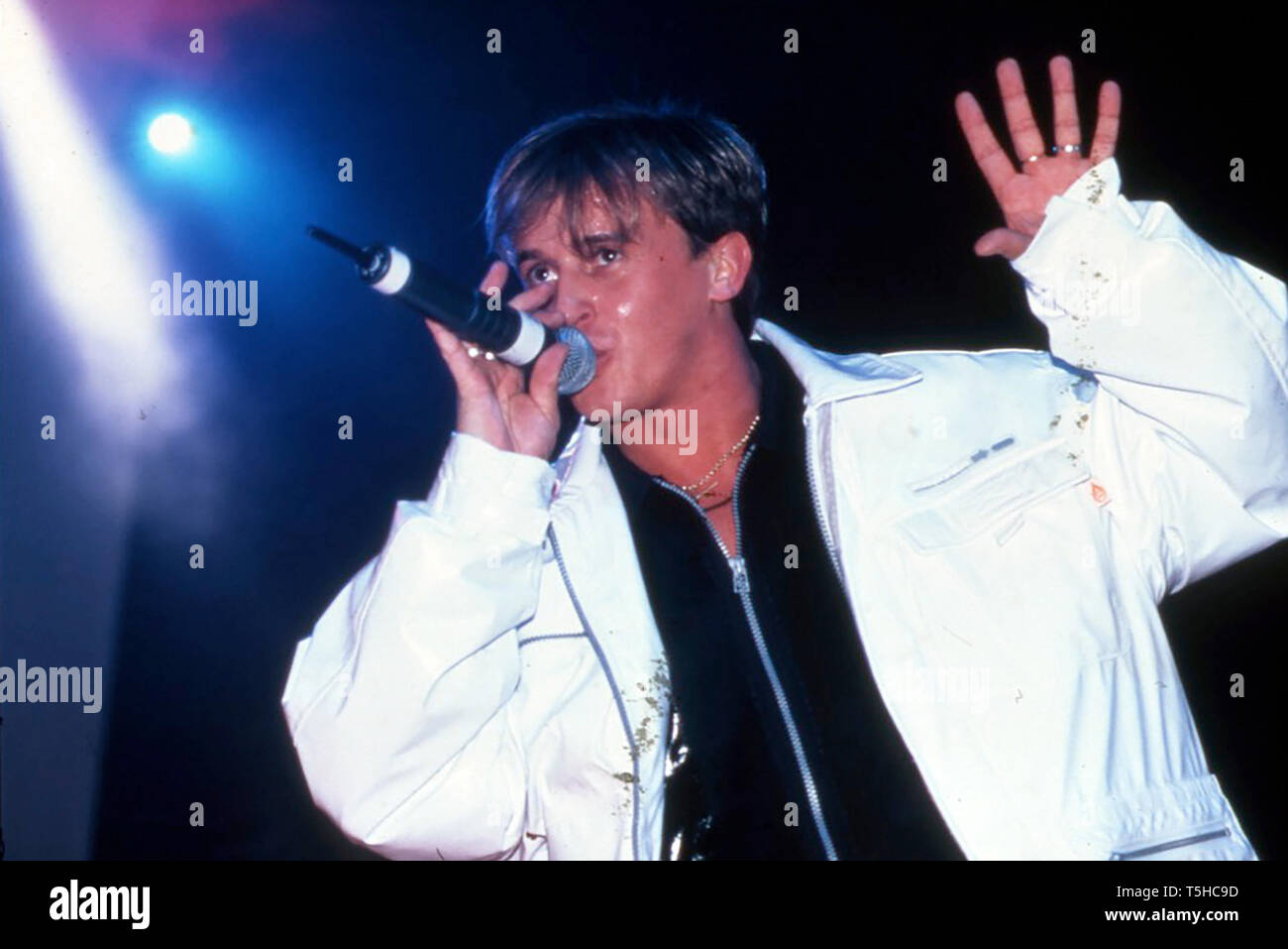 911 English pop group in April 1997 with Lee Brennan - Stock Image