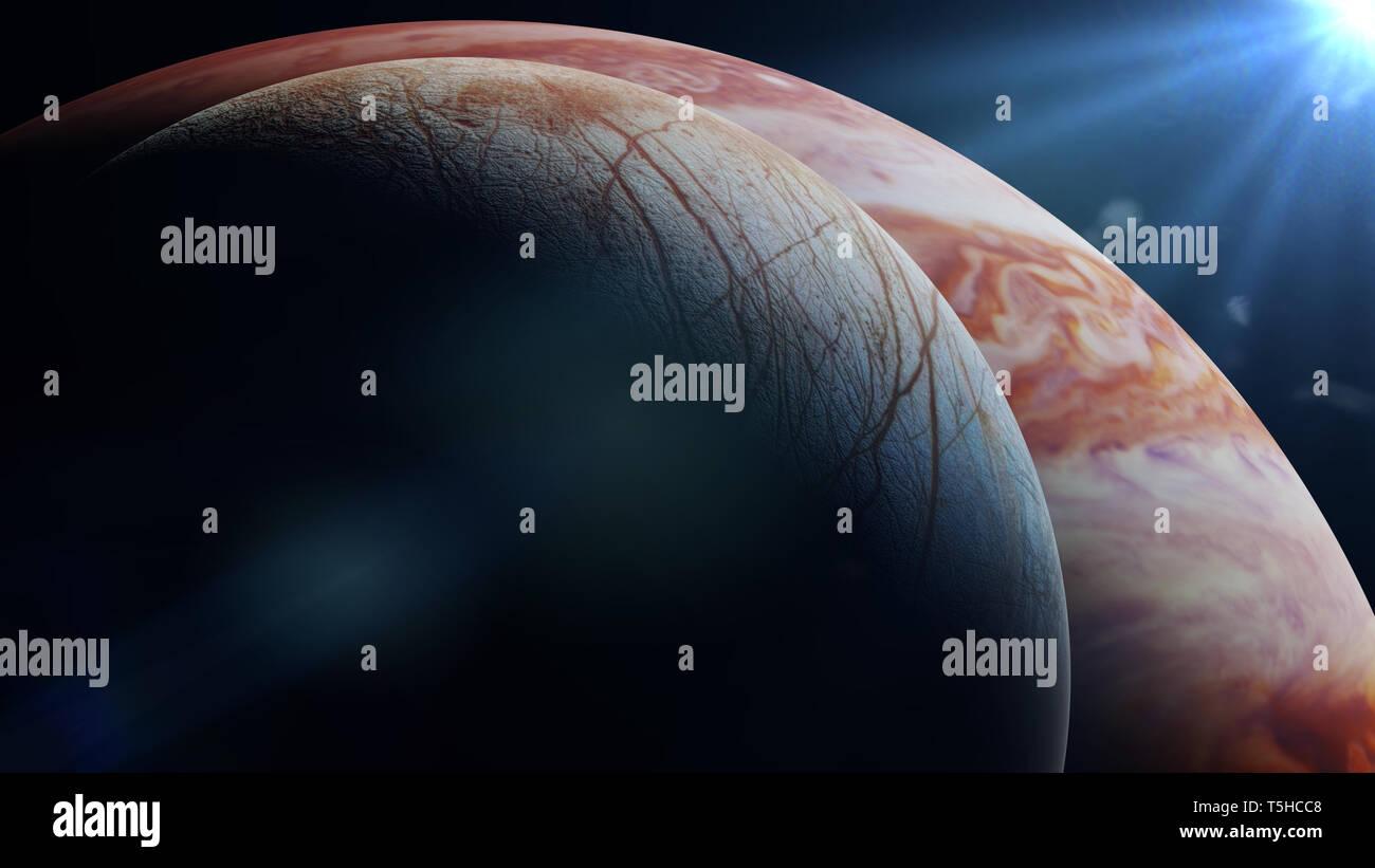 Jupiter's moon Europa in front of the planet Jupiter (3d render, elemen - Stock Image