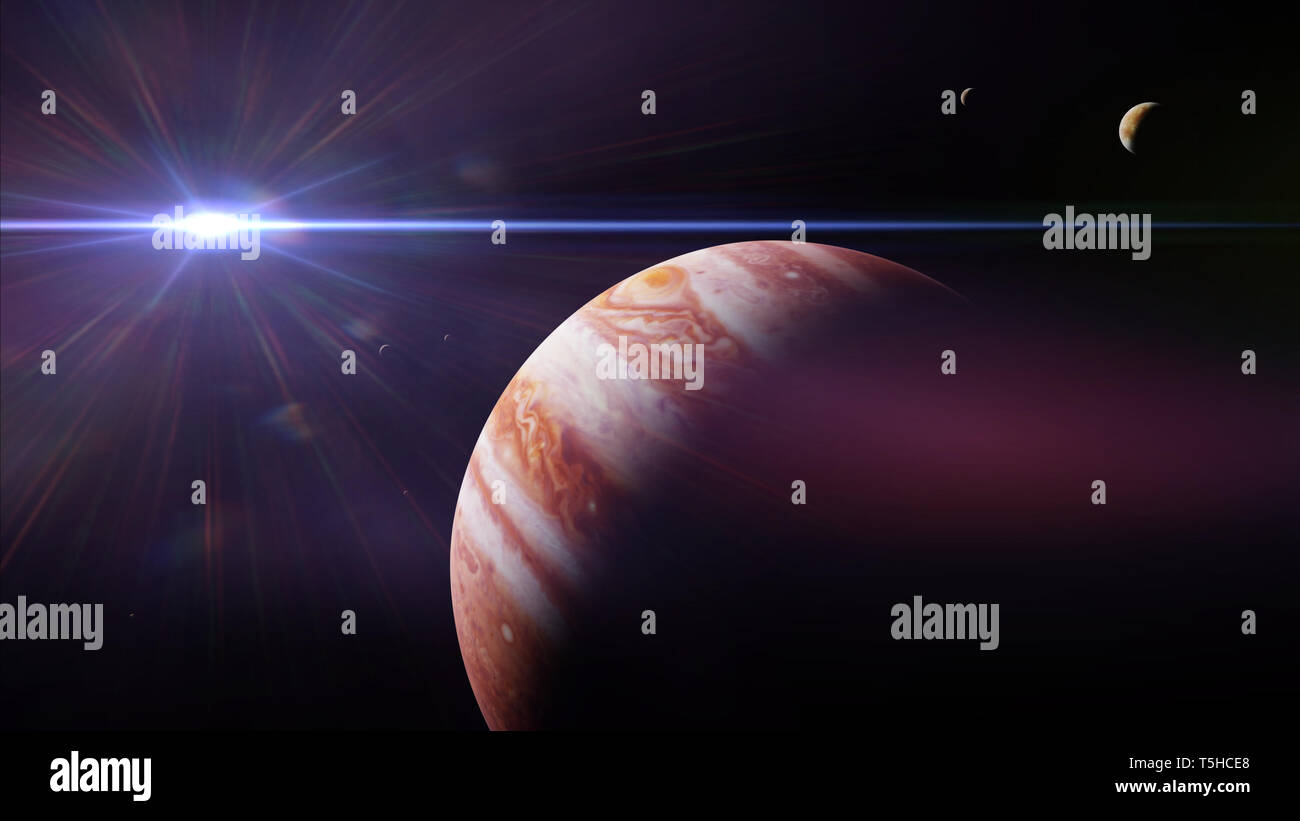 planet Jupiter with moons in front of the Sun - Stock Image