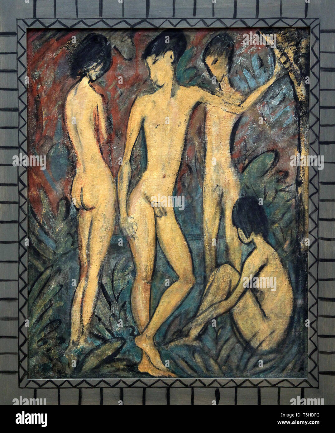 Two Young Men and Two Girls 1917 by Otto Müeller (1874 – 1930)  German expressionist painter - Stock Image