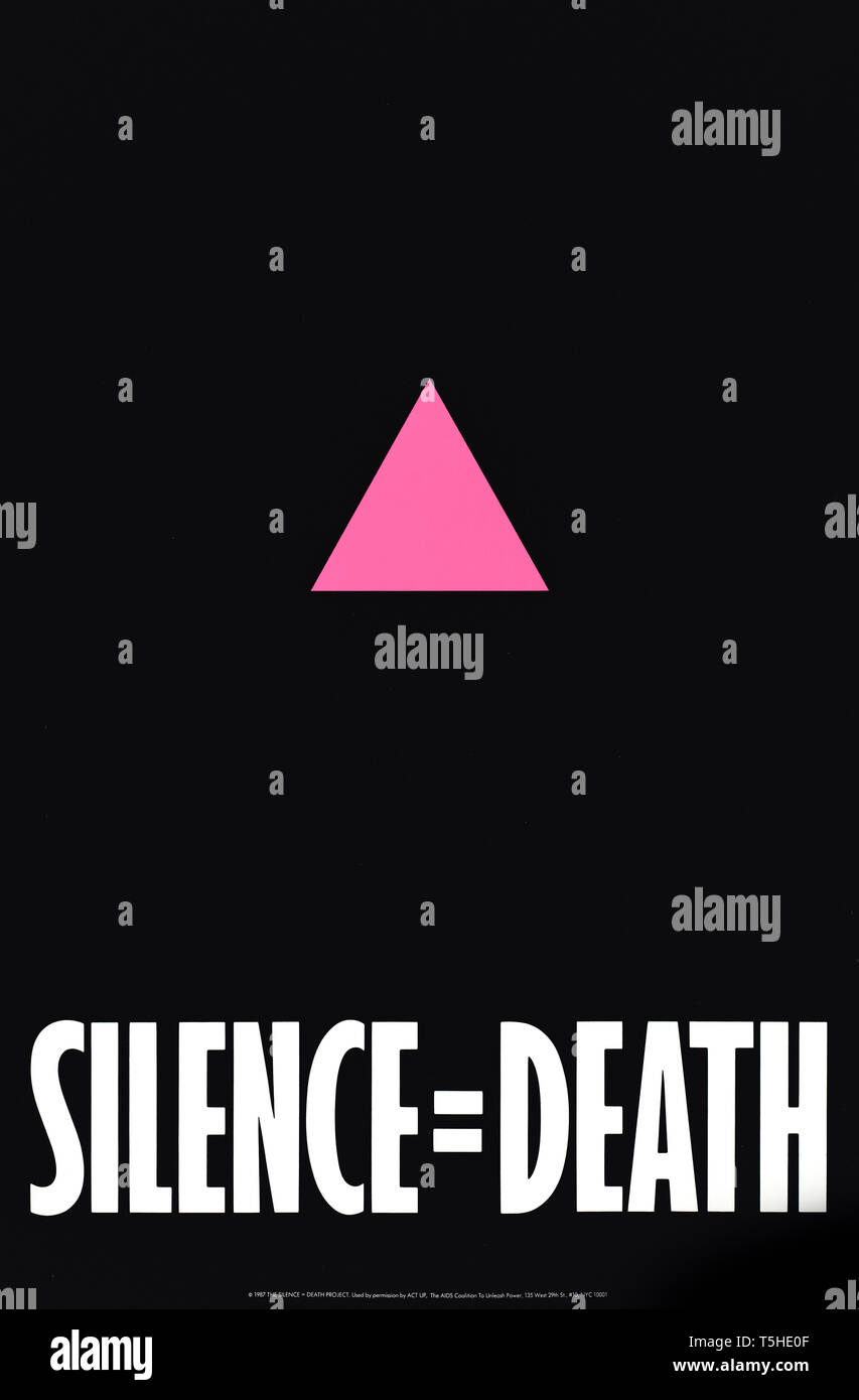 SILENCE = DEATH 1987 campaign poster produced by ACT-UP (The AIDS Coalition To Unleash Power) and displayed in NYC raise awareness of AIDS and criticise the American Government's inaction to either publicise or take action against the growing epidemic. - Stock Image