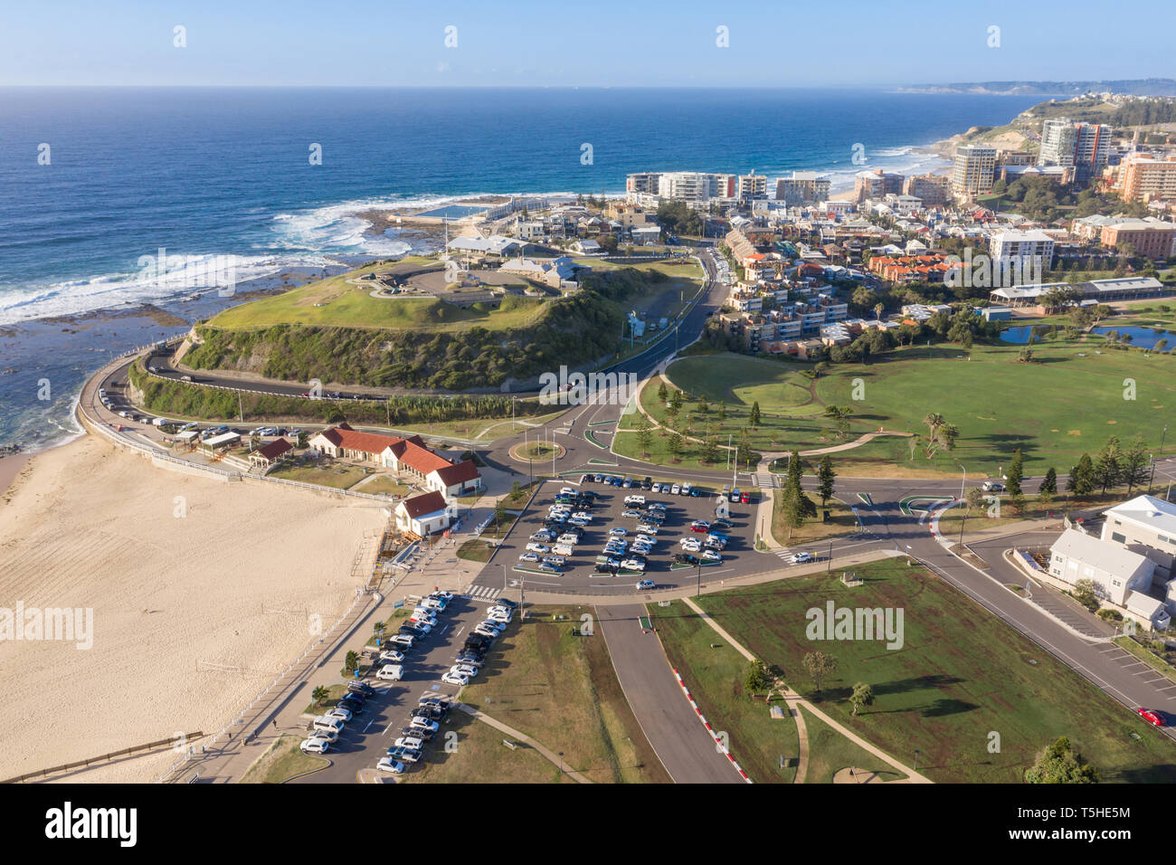 Aerial view of Newcastle featuring Nobbys Beach and Fort Scratchley - Newcastle Beach in background. Newcastle is a major city in NSW Australia. - Stock Image