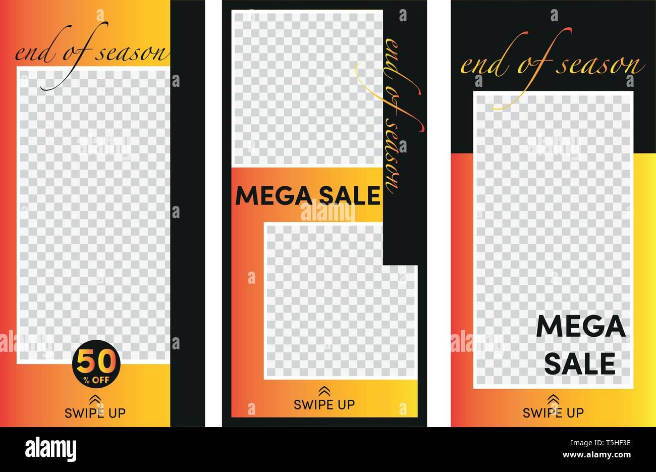 Set of stories sale banner background, instagram template photo