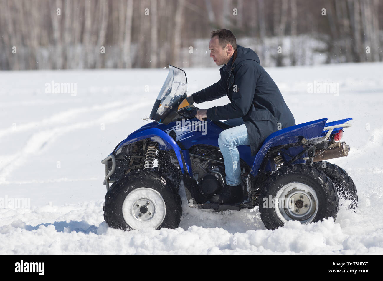 A winter forest in daylight. A man riding a big blue snowmobile - Stock Image