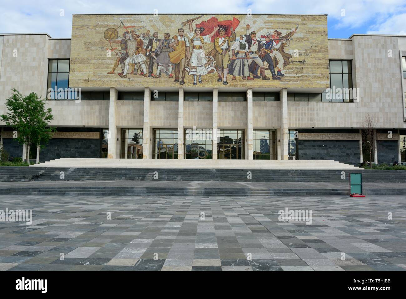 The Albanians mosaic on the National Historical Museum one of the finest example of late Albanian Socialist Realism Tirana Albania - Stock Image