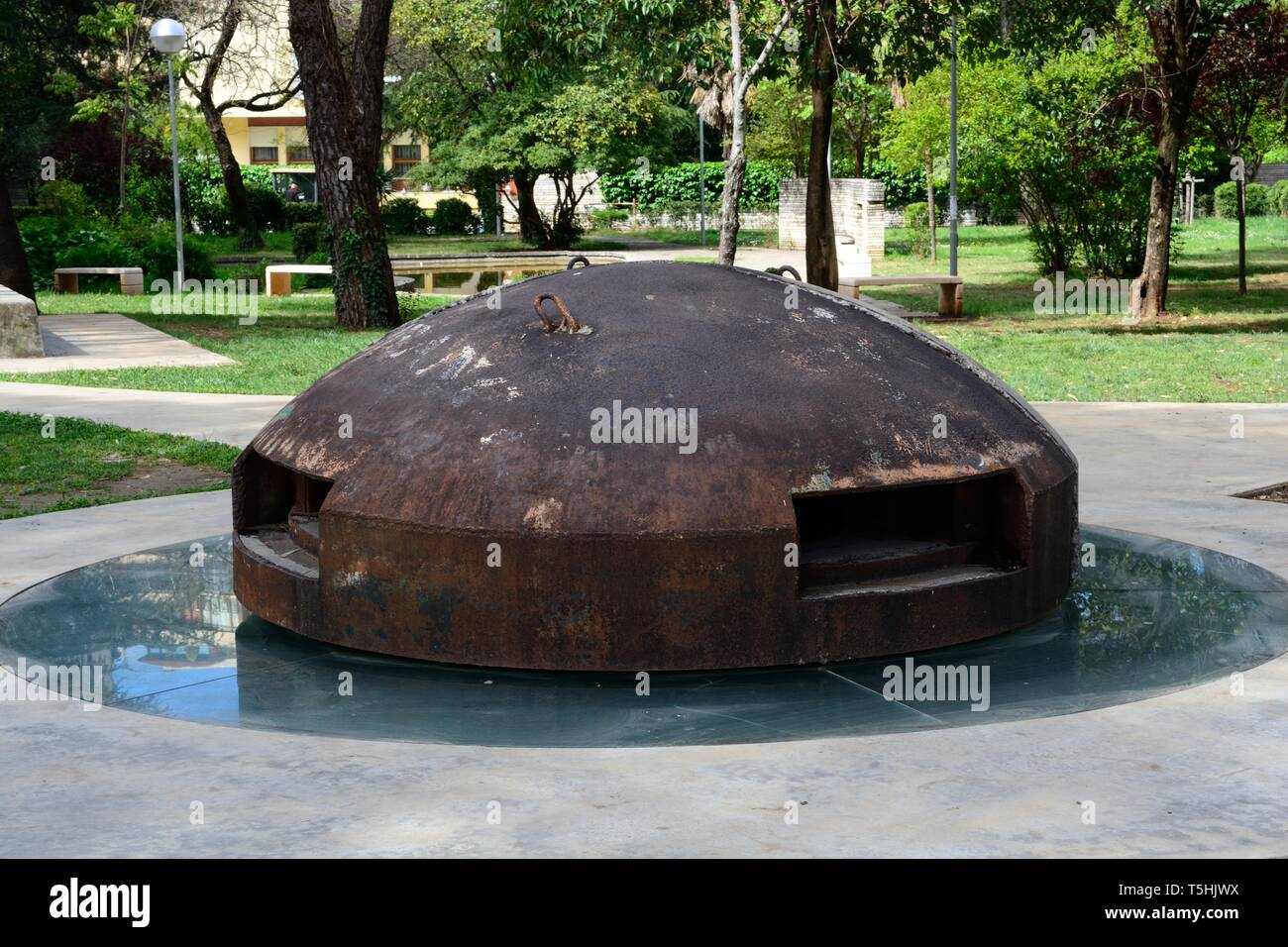 Bunker inscribed TR111 1976  which guarded the main entrance to the resedentiall block where the most senior communists lived Tirana Albania - Stock Image