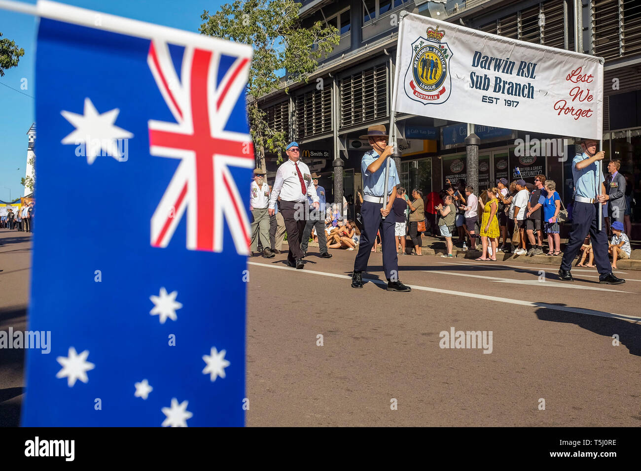 ANZAC Day parade in Knuckey street in Darwin, the capital city of the Northern Territory of Australia - 2019.04.25 - Stock Image