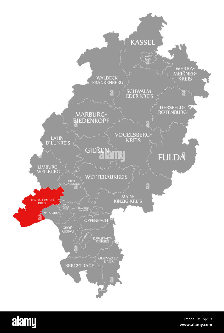Rheingau Taunus Kreis County Red Highlighted In Map Of Hessen