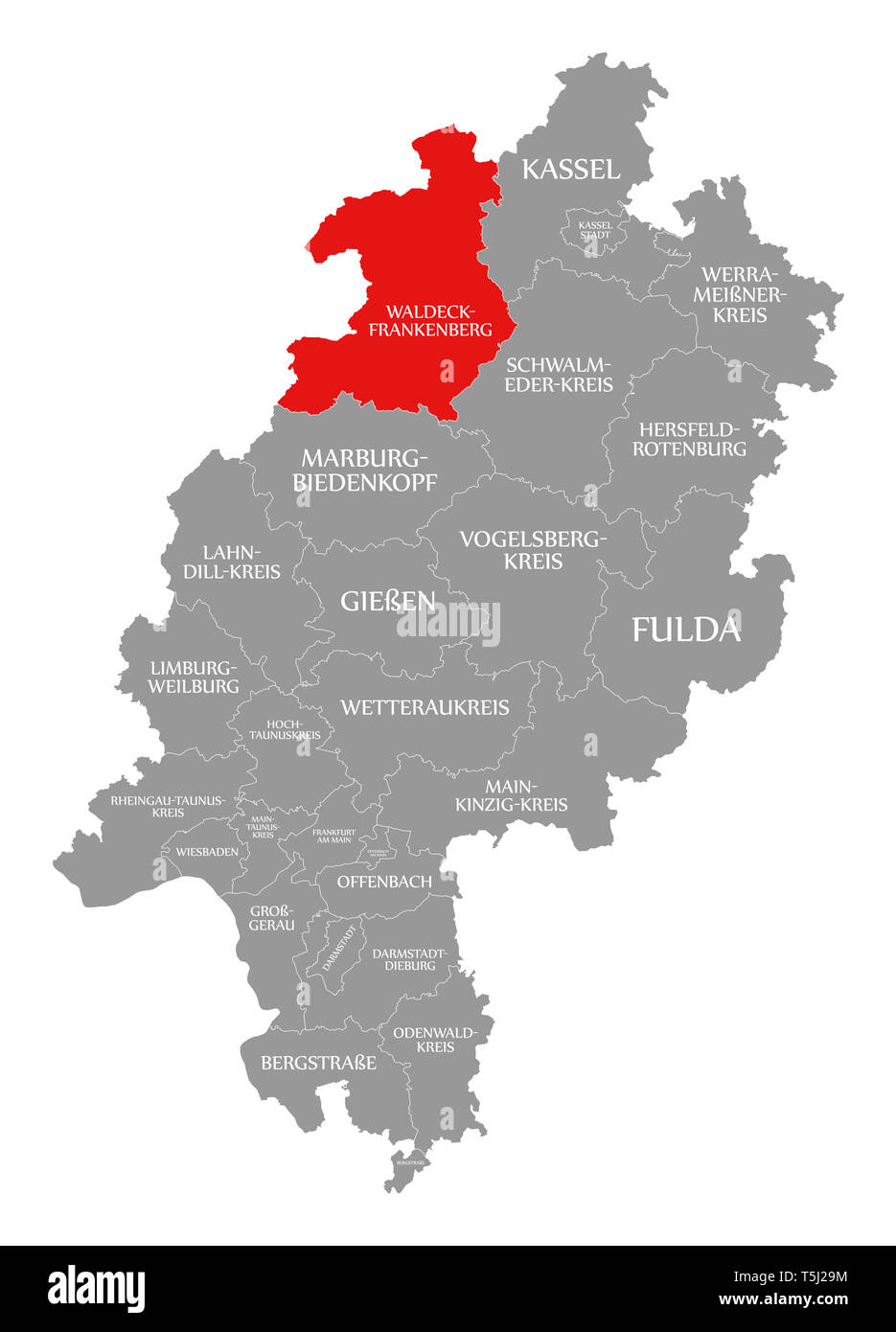 Waldeck-Frankenberg county red highlighted in map of Hessen Germany - Stock Image