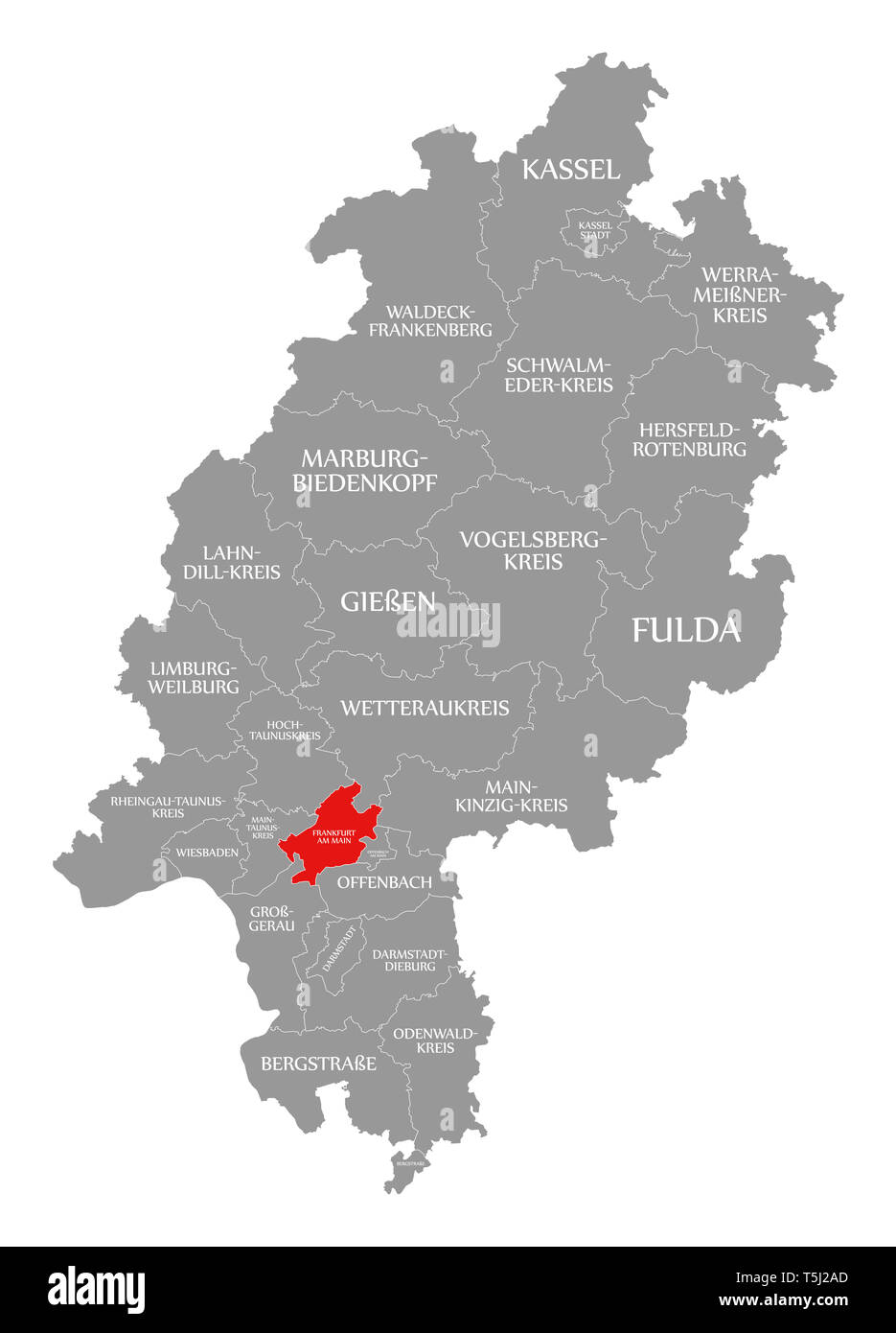 Frankfurt Am Main County Red Highlighted In Map Of Hessen Germany