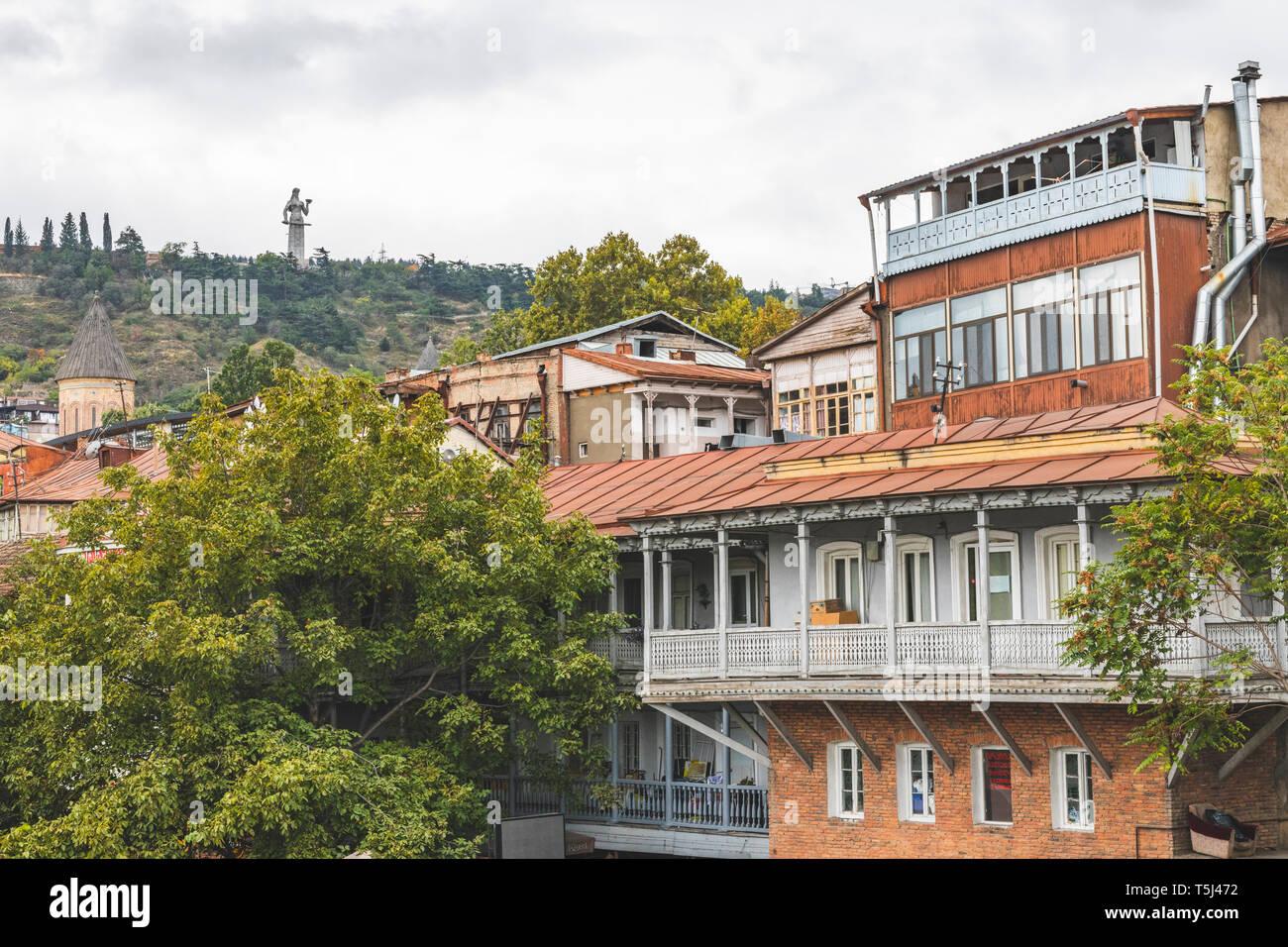 Georgia, Tbilisi, view from the old town to Kartlis Deda monumental statue Stock Photo