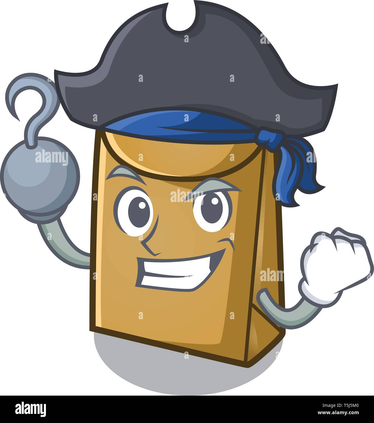 Pirate cartoon paper bag at table register - Stock Image