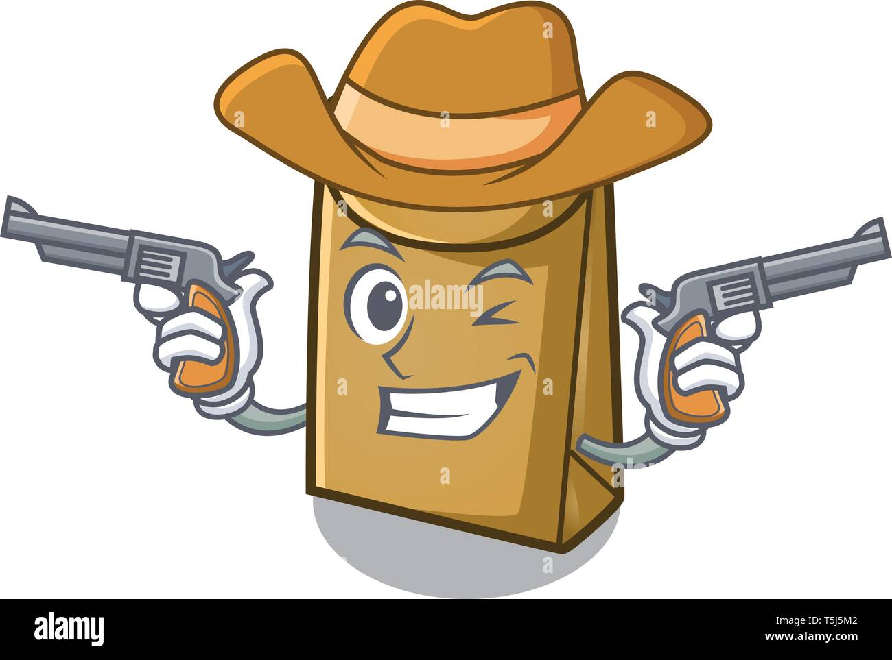 Cowboy cartoon paper bag at table register - Stock Image