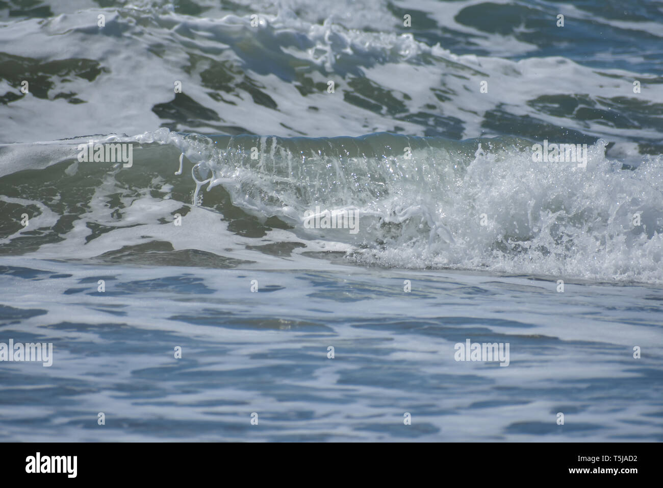 A rolling ocean wave crashing onto the shore forming a foamy spray. - Stock Image