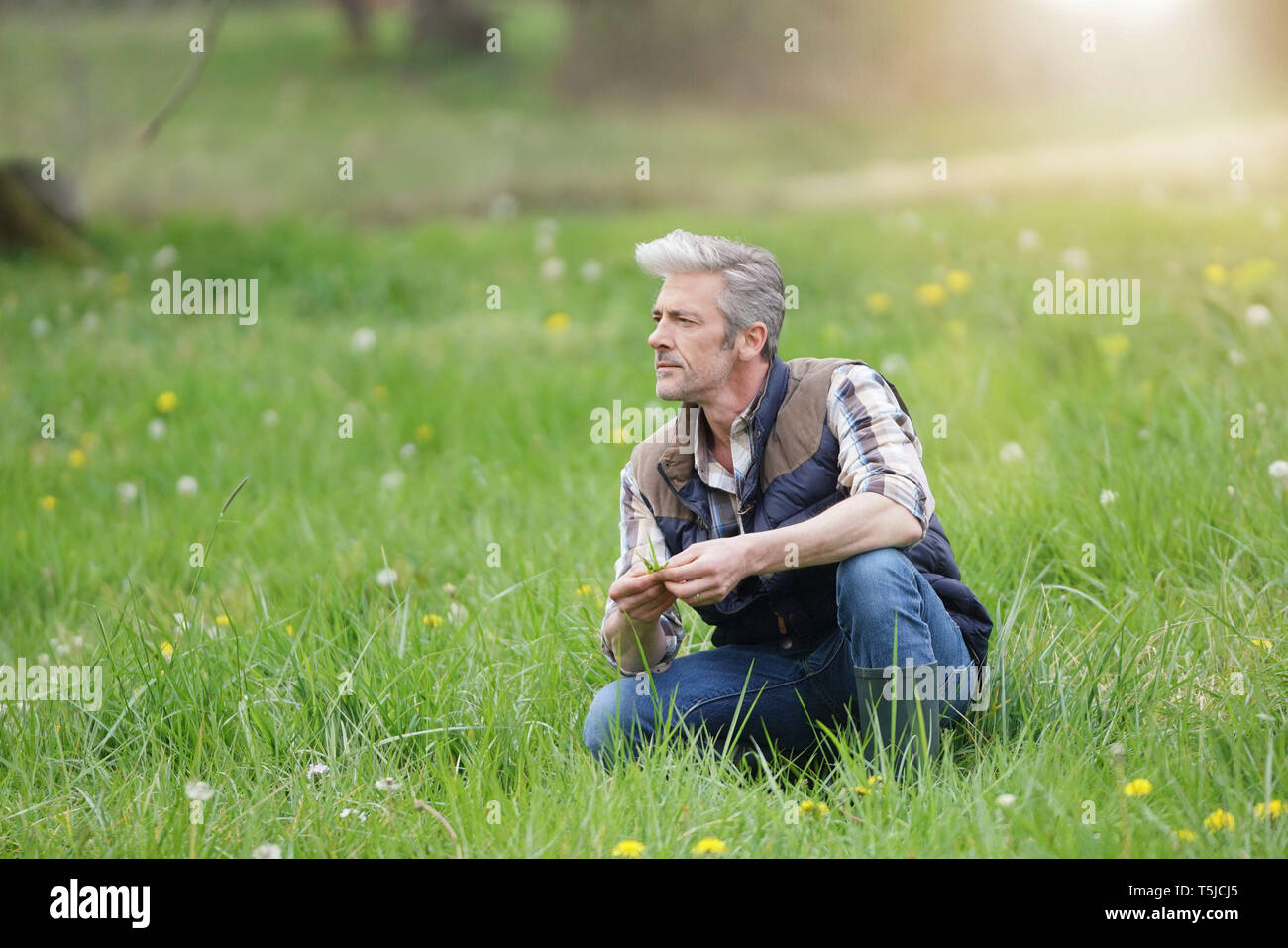 Mature man crouched in field in countryside Stock Photo