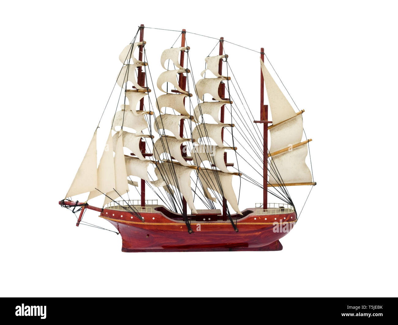 Barque ship gift craft model wooden,isolated on background - Stock Image