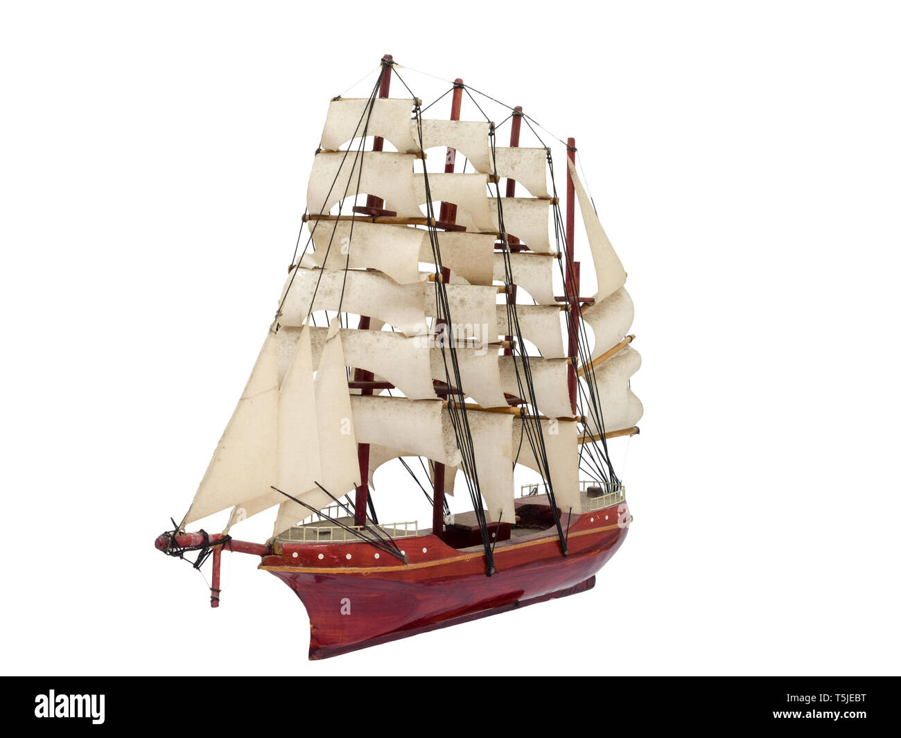 Barque ship gift craft model wooden,isolated white background - Stock Image