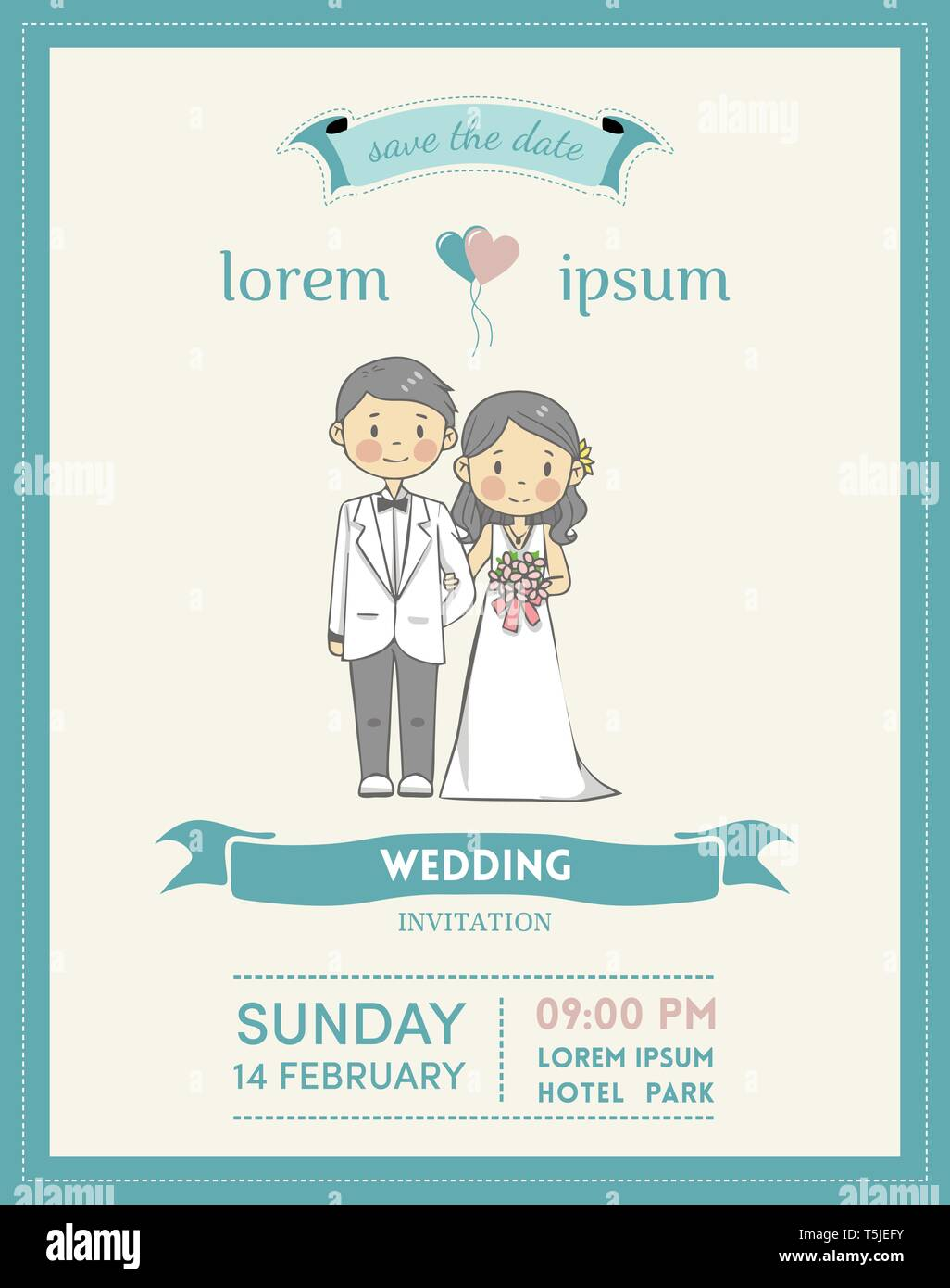 Wedding Invitation Cards With Couple Cartoon Character And Pastel