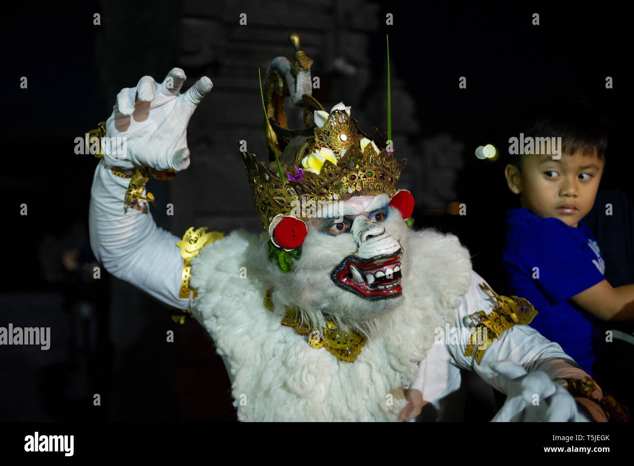 Hanuman posing for tourists and a slightly shocked child at the Kecak Dance at Uluwatu Temple (Pura Luhur Uluwatu) in Bali, Indonesia - Stock Image
